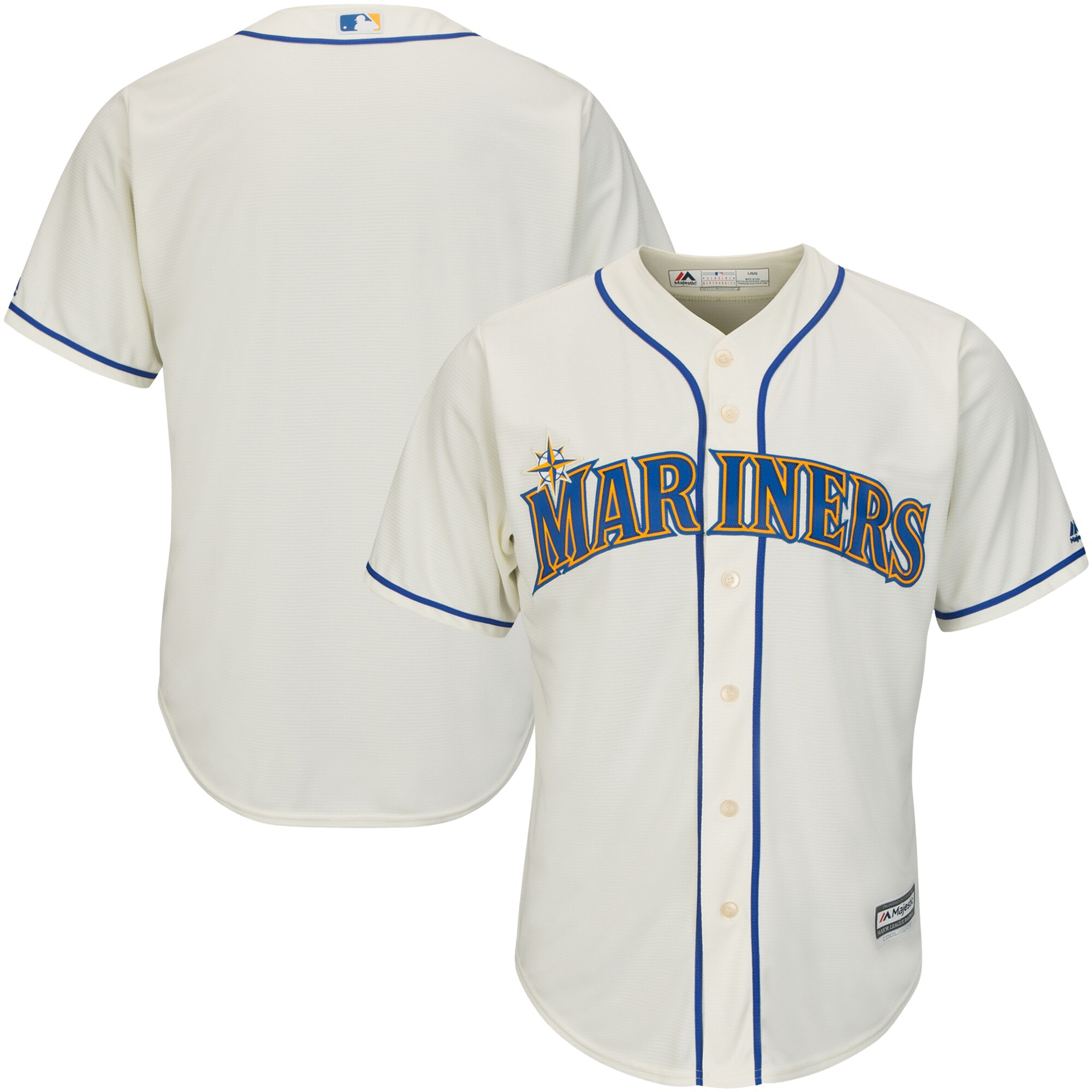 Seattle Mariners Majestic Youth Official Cool Base Jersey - Cream