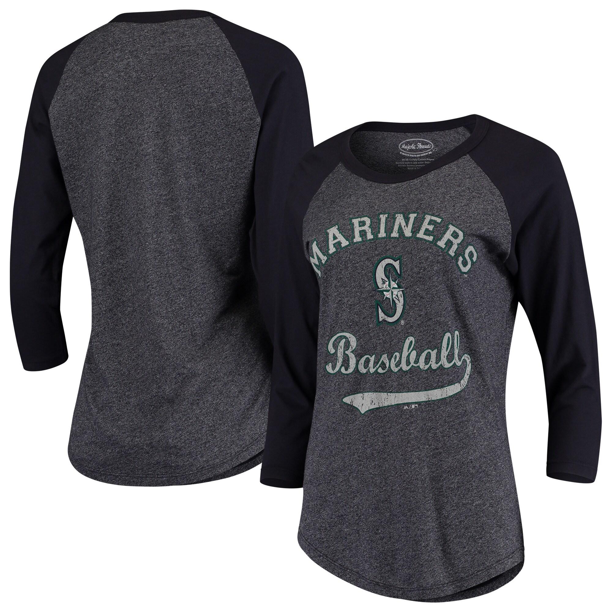 Seattle Mariners Majestic Threads Women's Team Baseball Three-Quarter Raglan Sleeve Tri-Blend T-Shirt - Navy