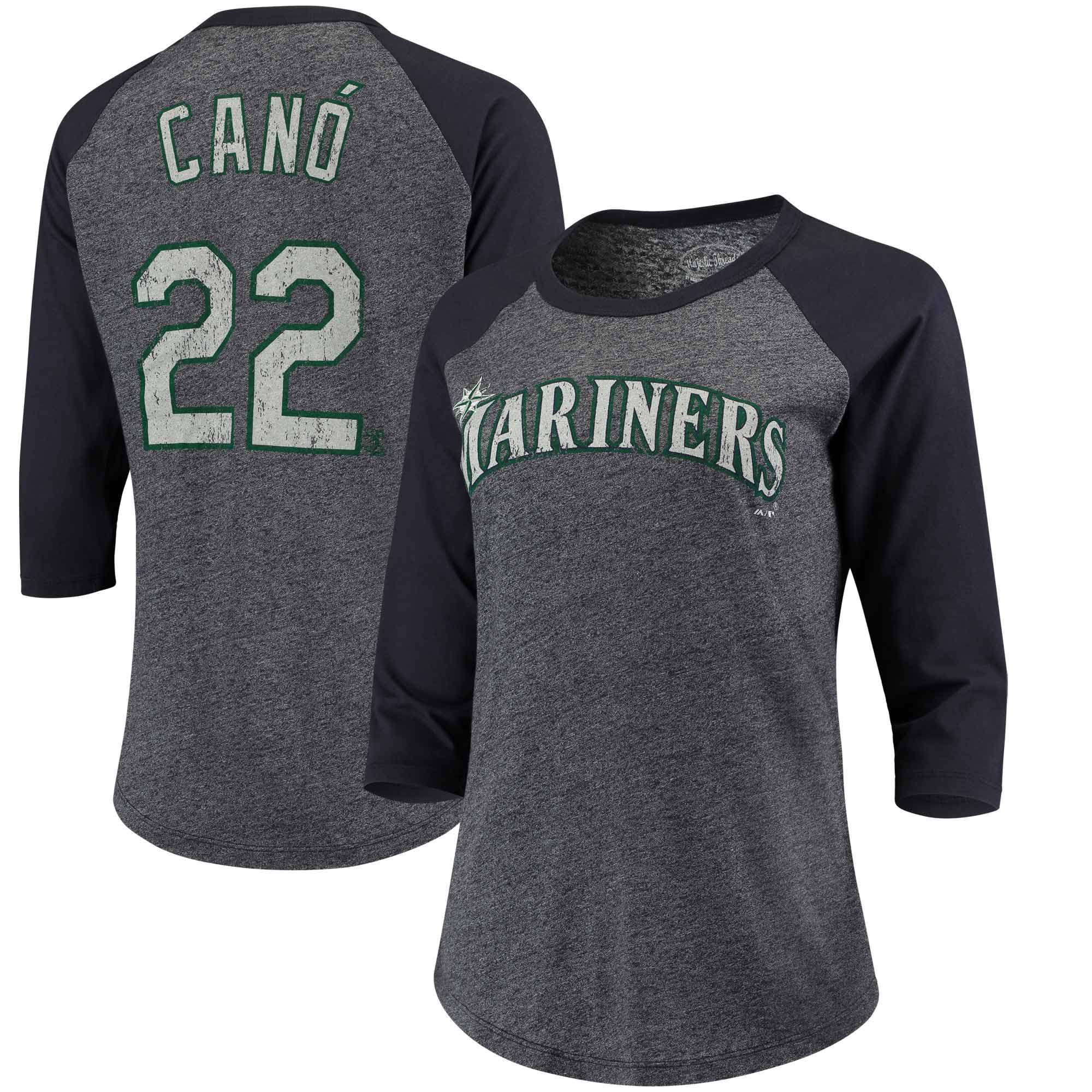 Robinson Cano Seattle Mariners Majestic Threads Women's 3/4-Sleeve Raglan Name & Number T-Shirt - Navy