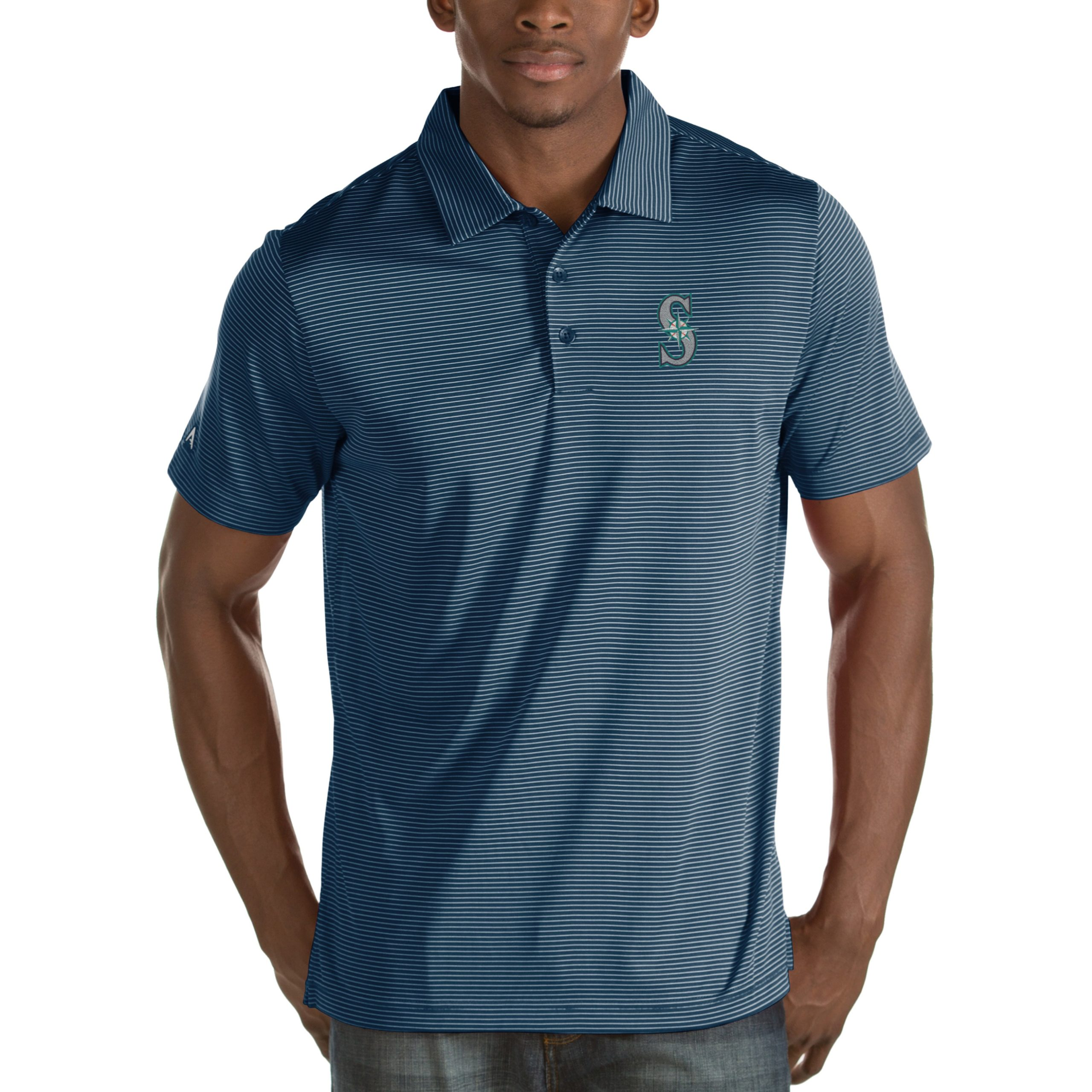 Seattle Mariners Antigua Quest Desert Dry Polo - Navy