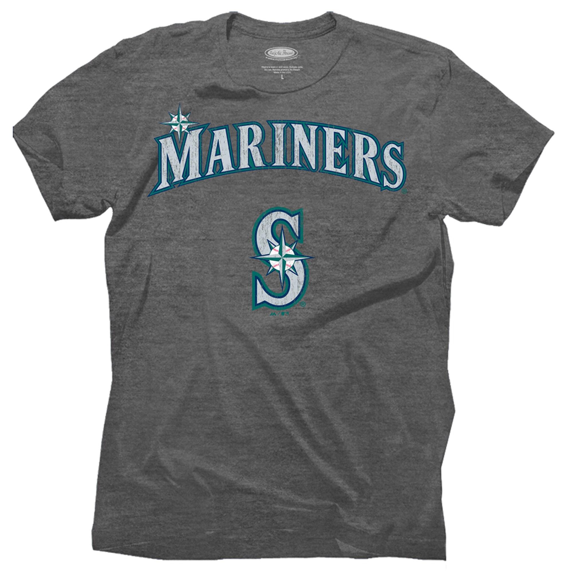 Seattle Mariners Majestic Threads Premium Granite Tri-Blend T-Shirt - Charcoal