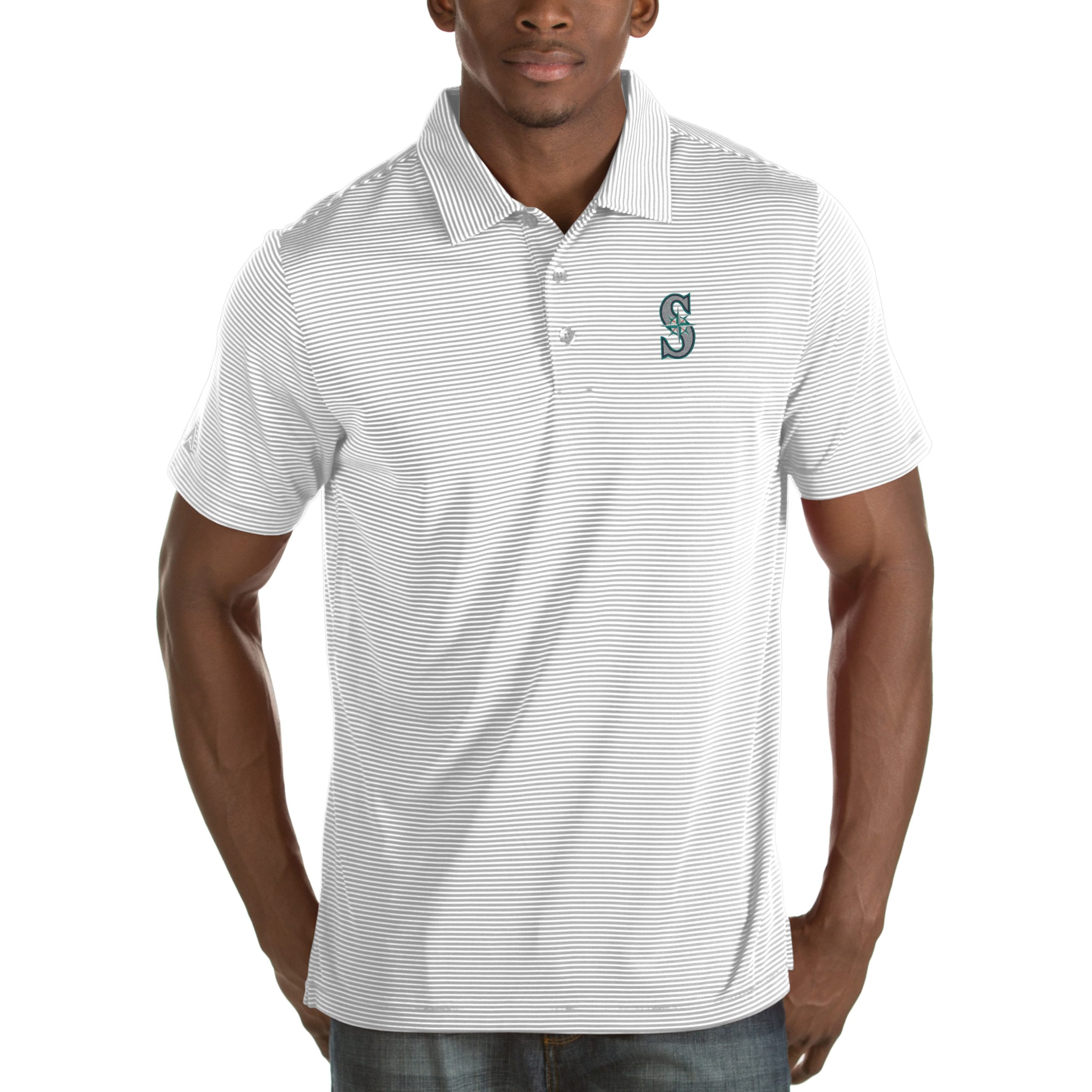 Seattle Mariners Antigua Quest Desert Dry Polo - White