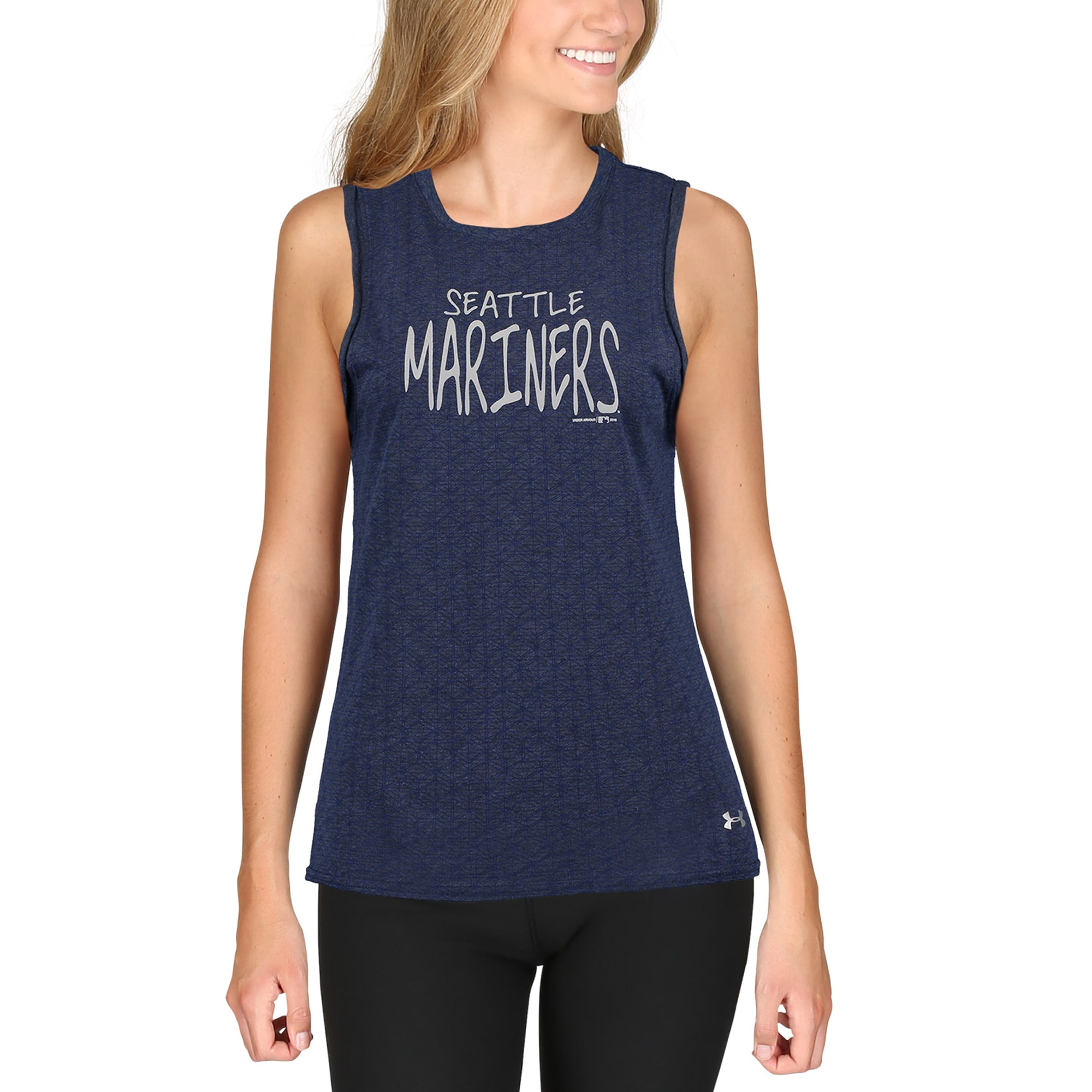 Seattle Mariners Under Armour Women's Muscle Performance Tank Top - Navy