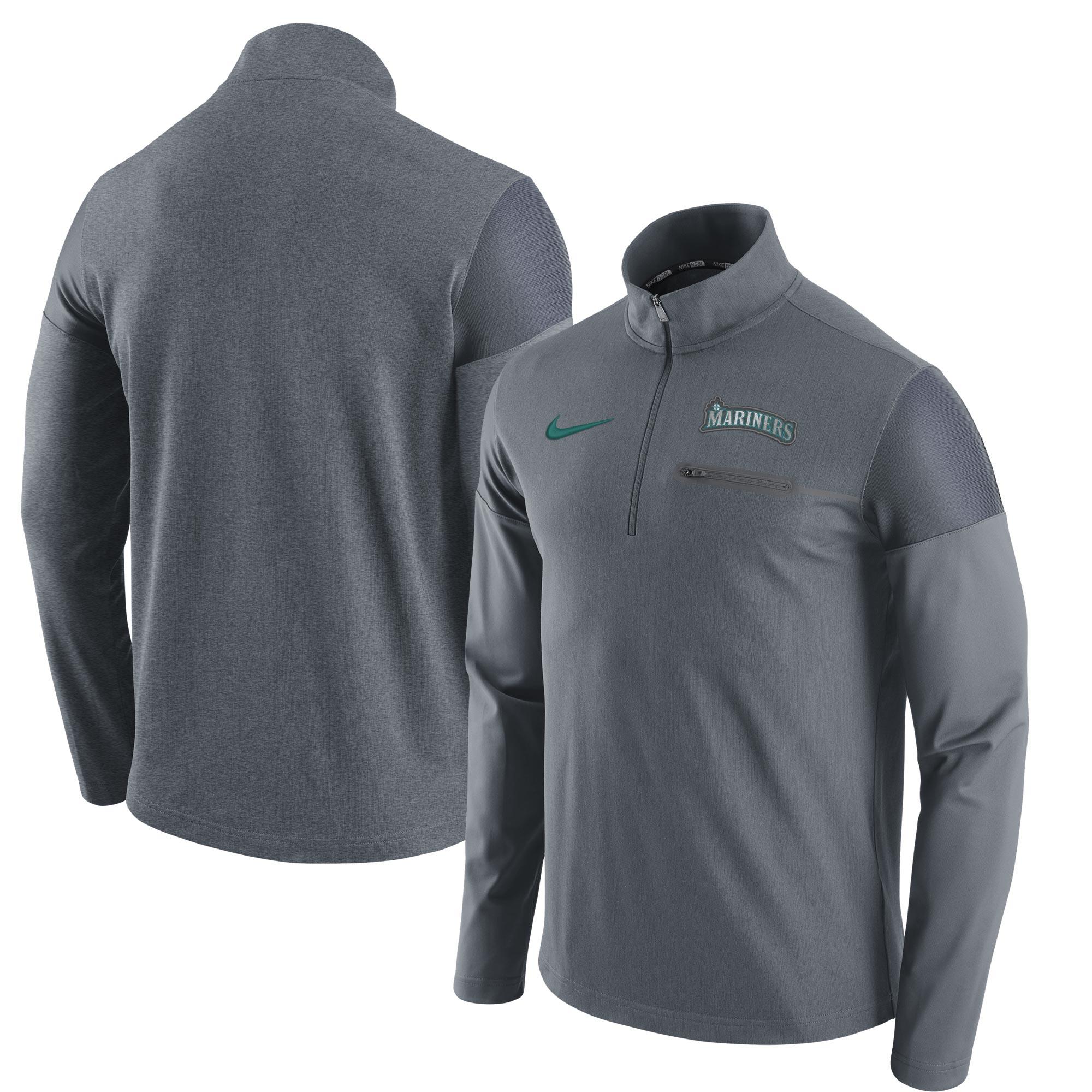 Seattle Mariners Nike Elite Half-Zip Pullover Jacket - Gray