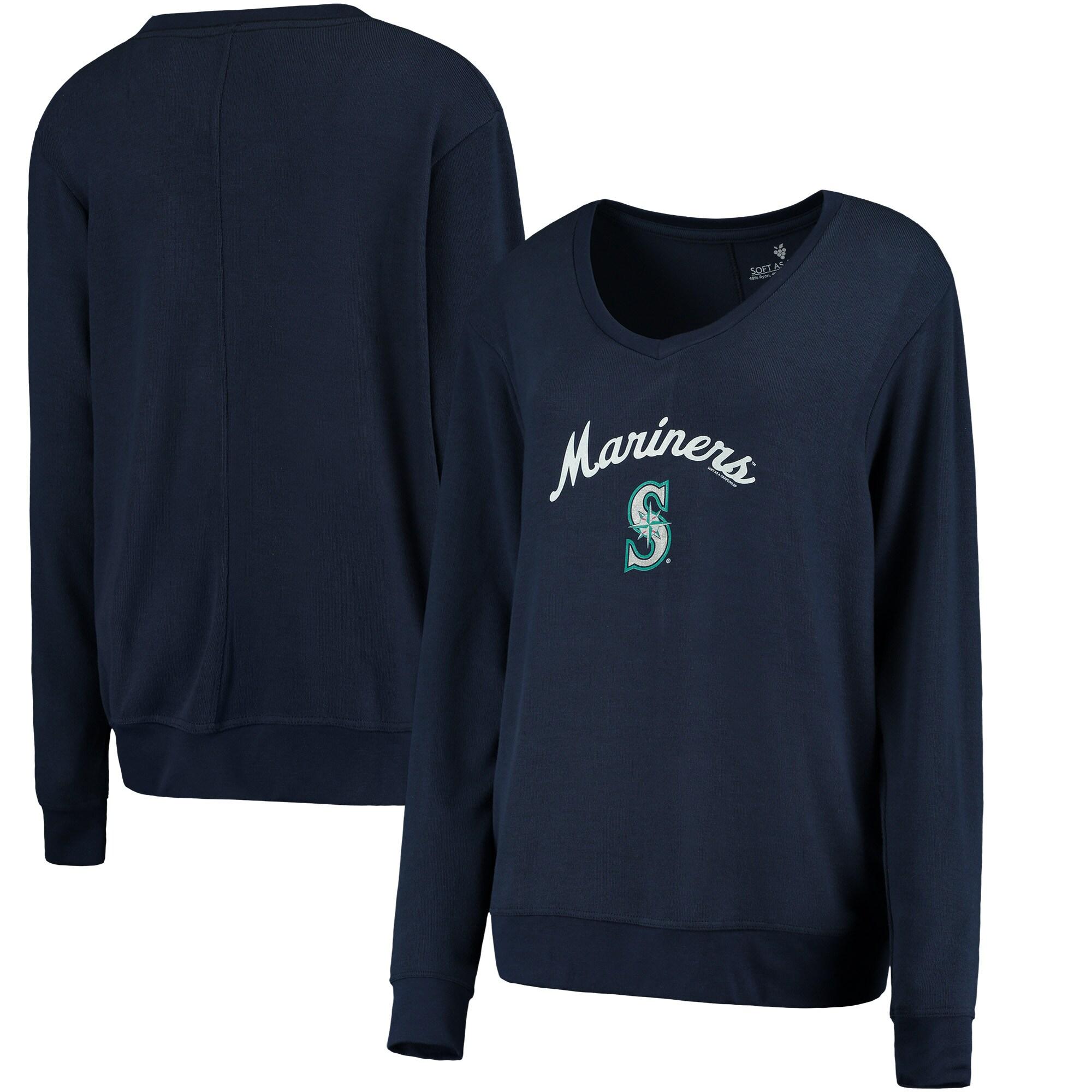 Seattle Mariners Soft as a Grape Women's Drapey V-Neck Sweatshirt - Navy