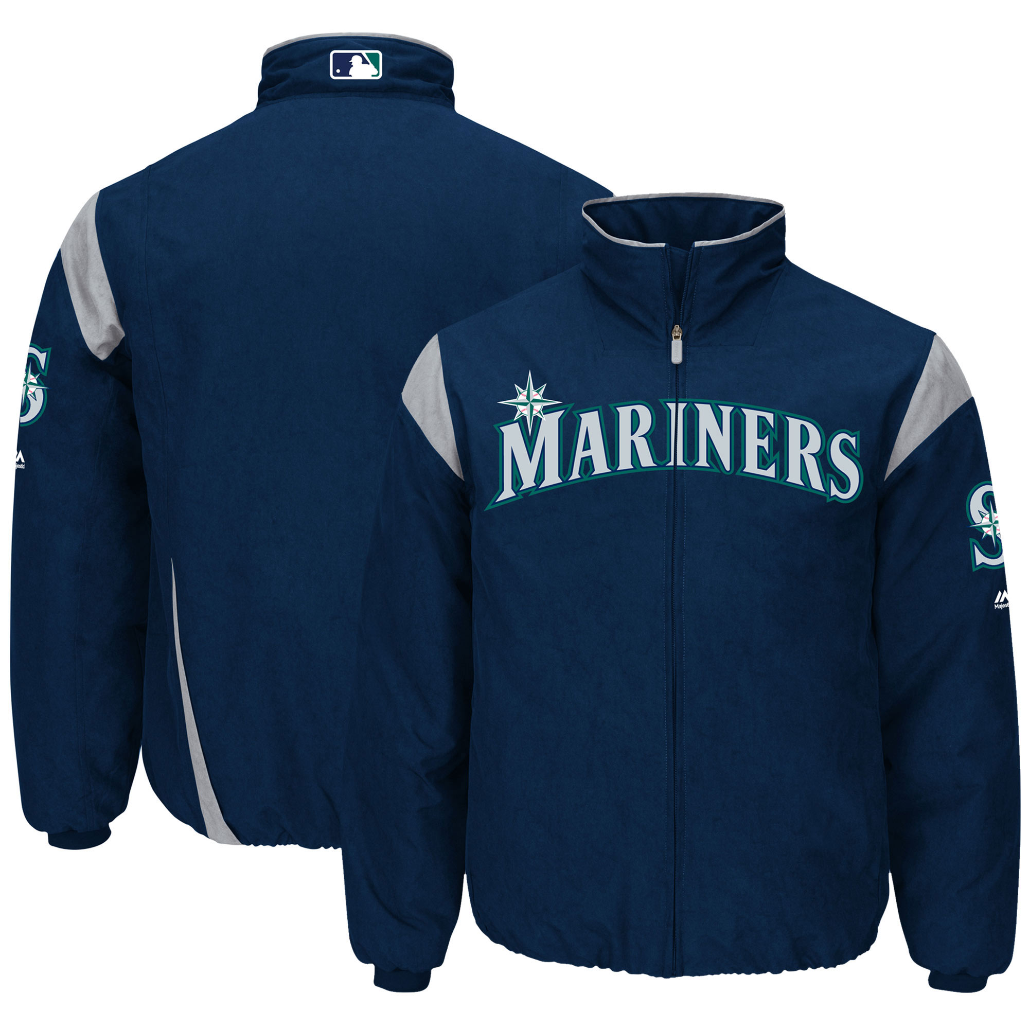 Seattle Mariners Majestic On-Field Therma Base Thermal Full-Zip Jacket - Navy