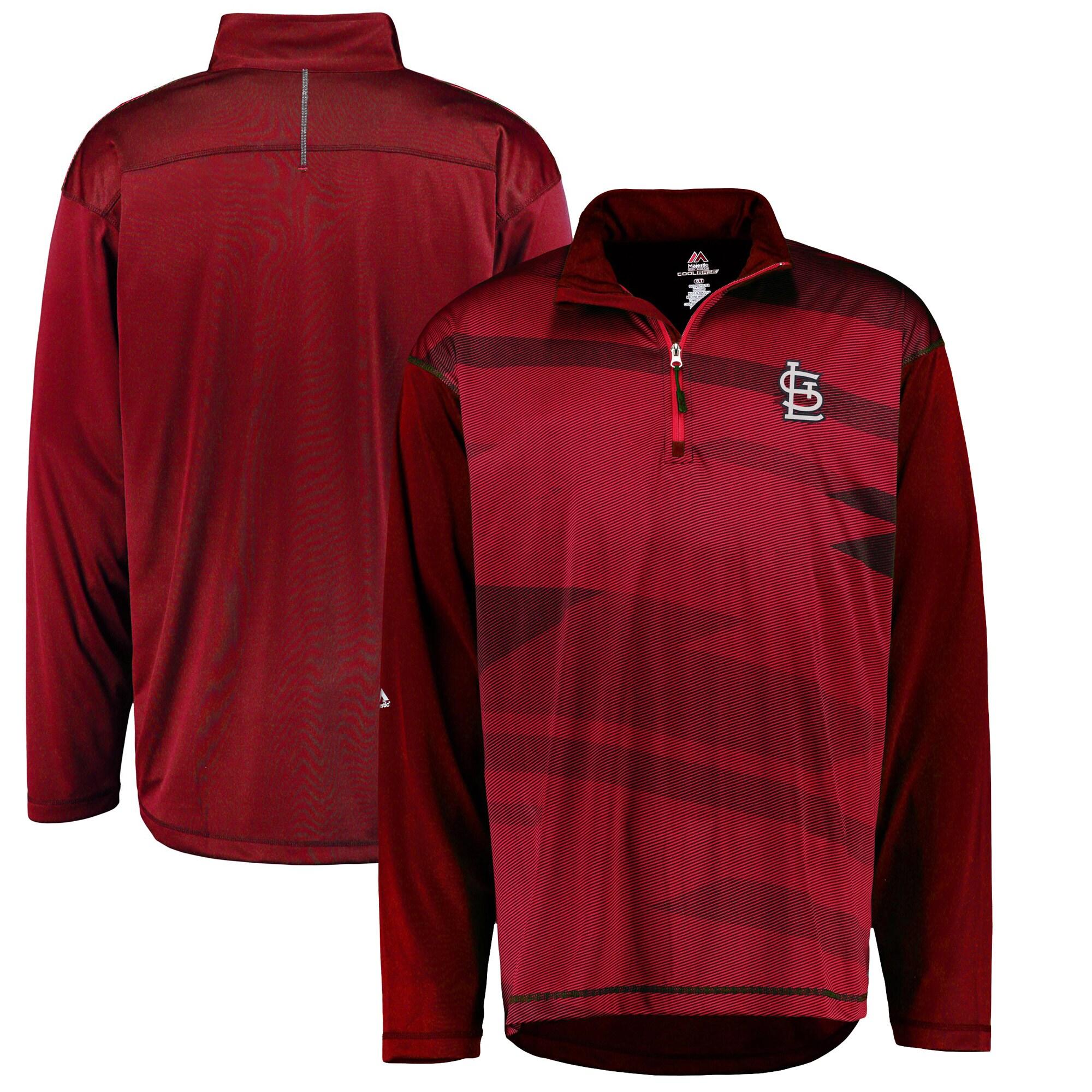 St. Louis Cardinals Majestic Big & Tall Cool Base Quarter-Zip Sweatshirt - Red/Navy