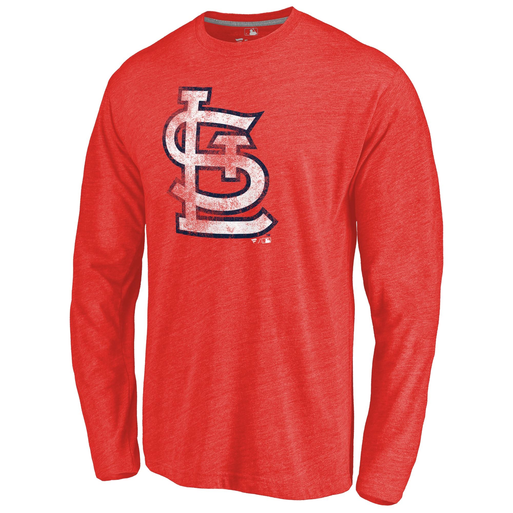 St. Louis Cardinals Distressed Team Long Sleeve Tri-Blend T-shirt - Red