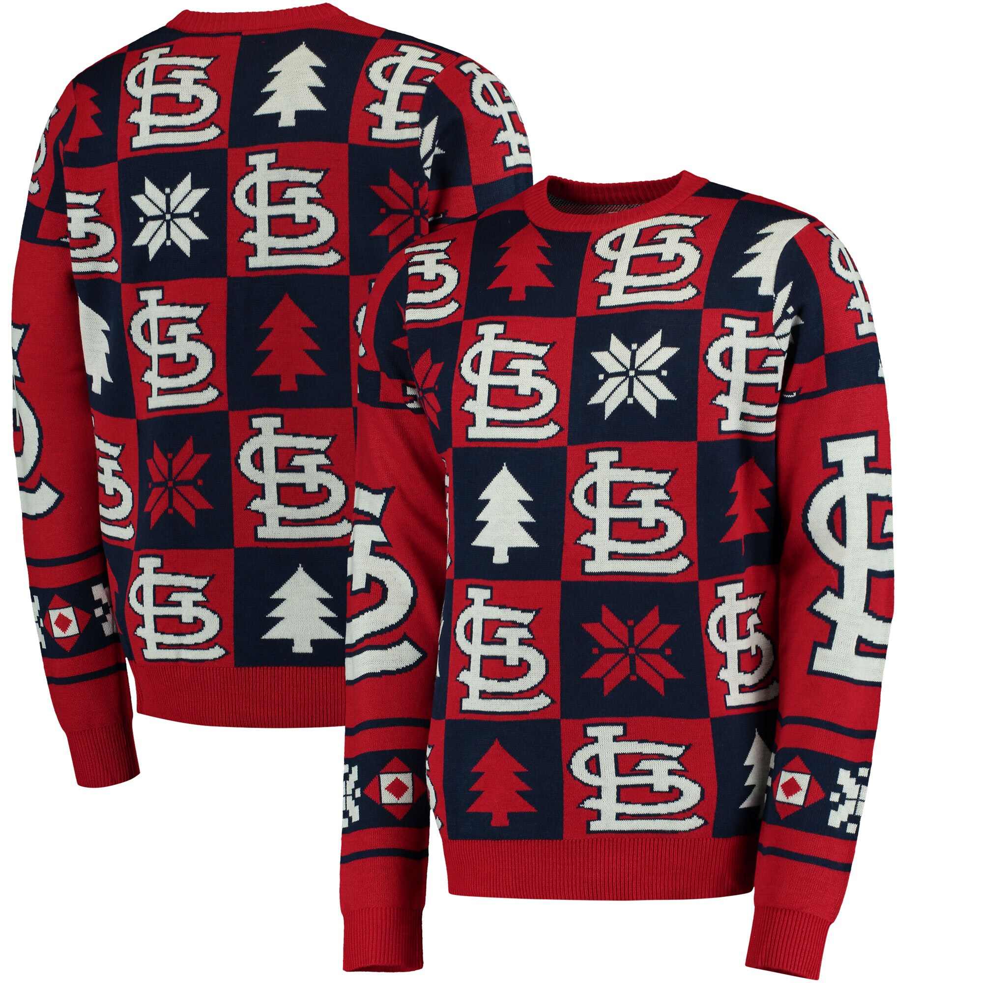 St. Louis Cardinals Patches Ugly Pullover Sweater - Red