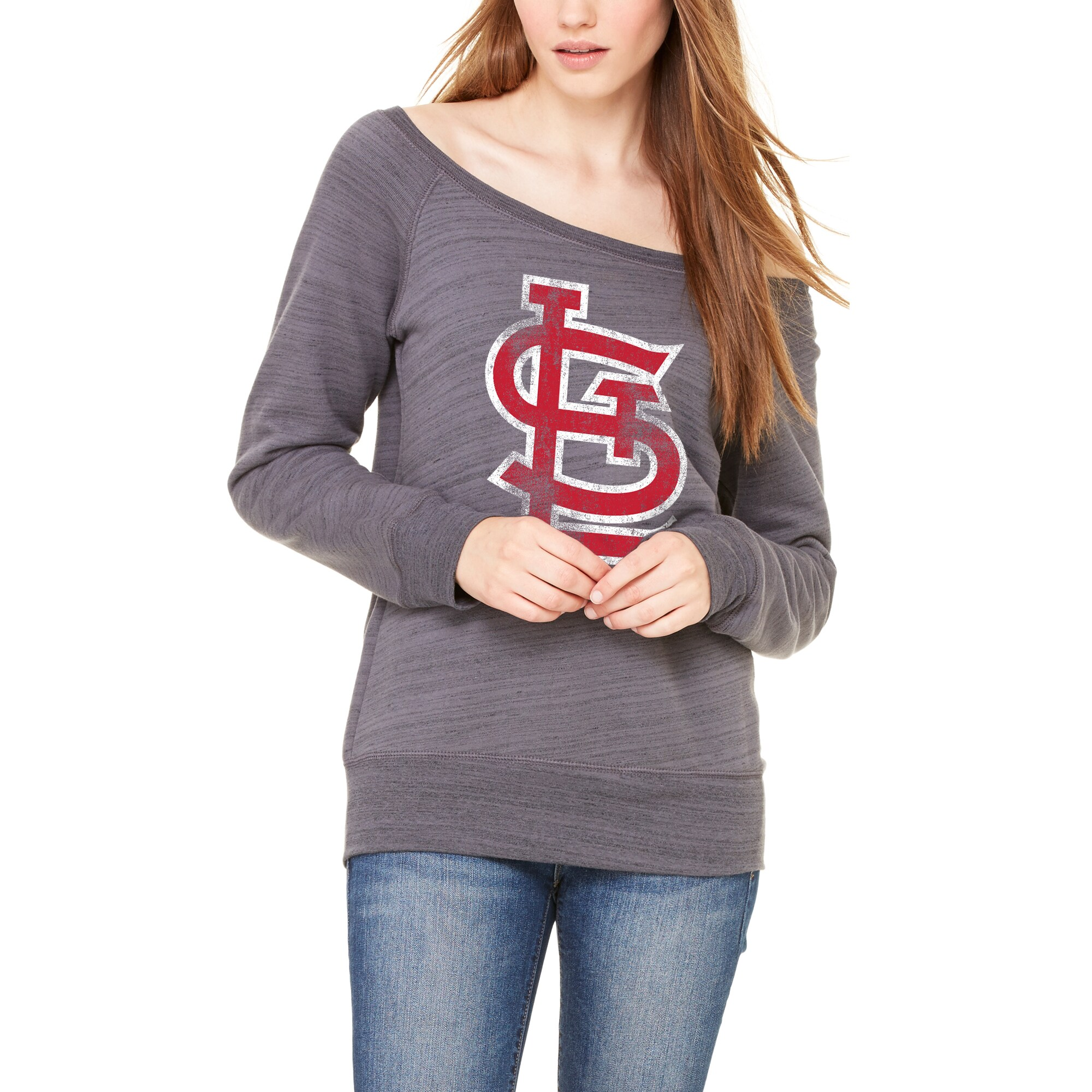 St. Louis Cardinals Let Loose by RNL Women's Game Day Wide Neck Sweatshirt - Dark Gray Marble