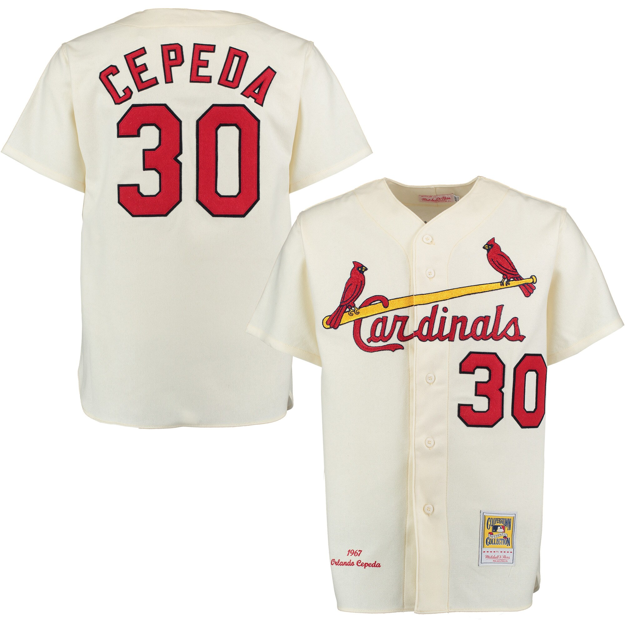 Orlando Cepeda 1967 St. Louis Cardinals Mitchell & Ness Home Authentic Throwback Jersey - Cream