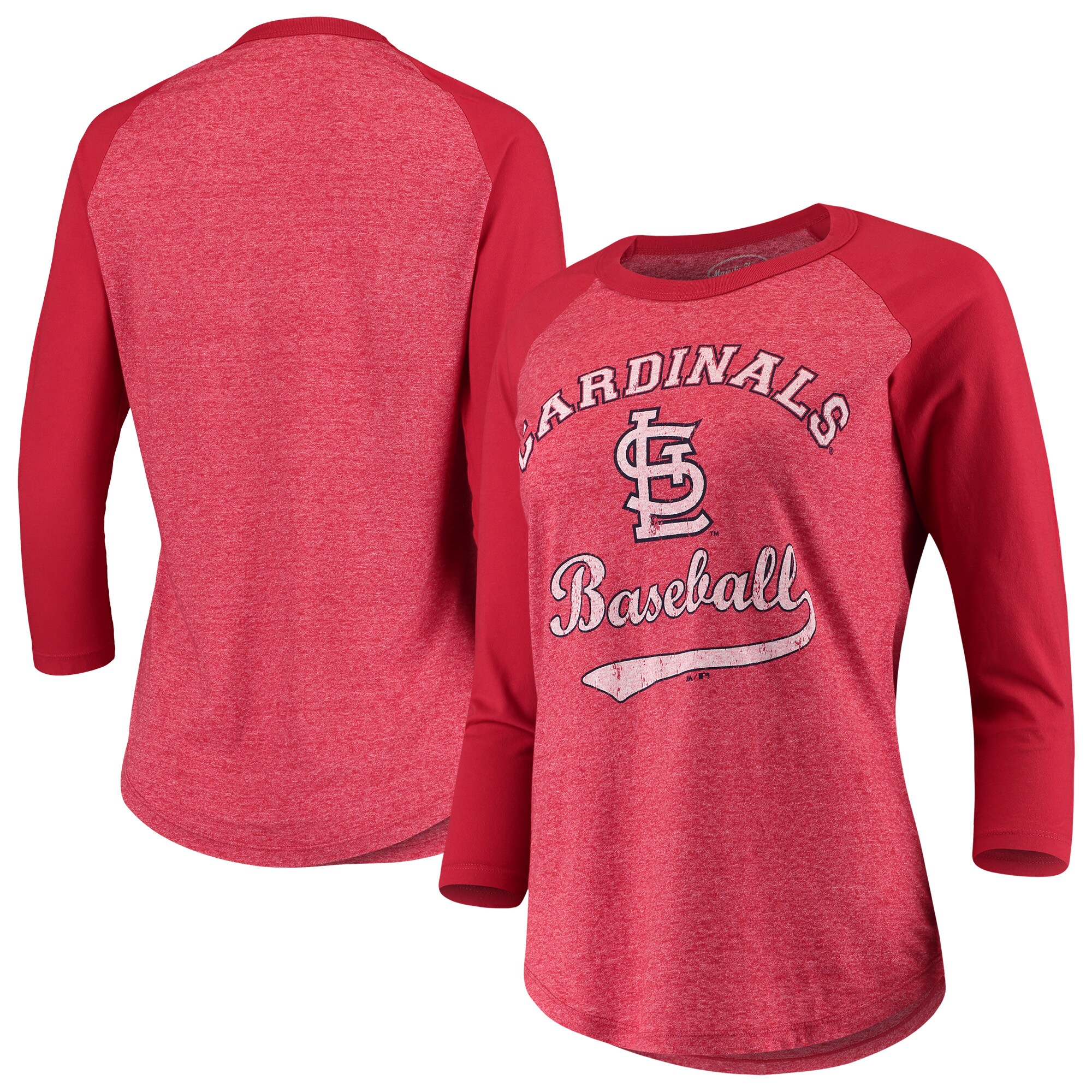 St. Louis Cardinals Majestic Threads Women's Team Baseball Three-Quarter Raglan Sleeve Tri-Blend T-Shirt - Red