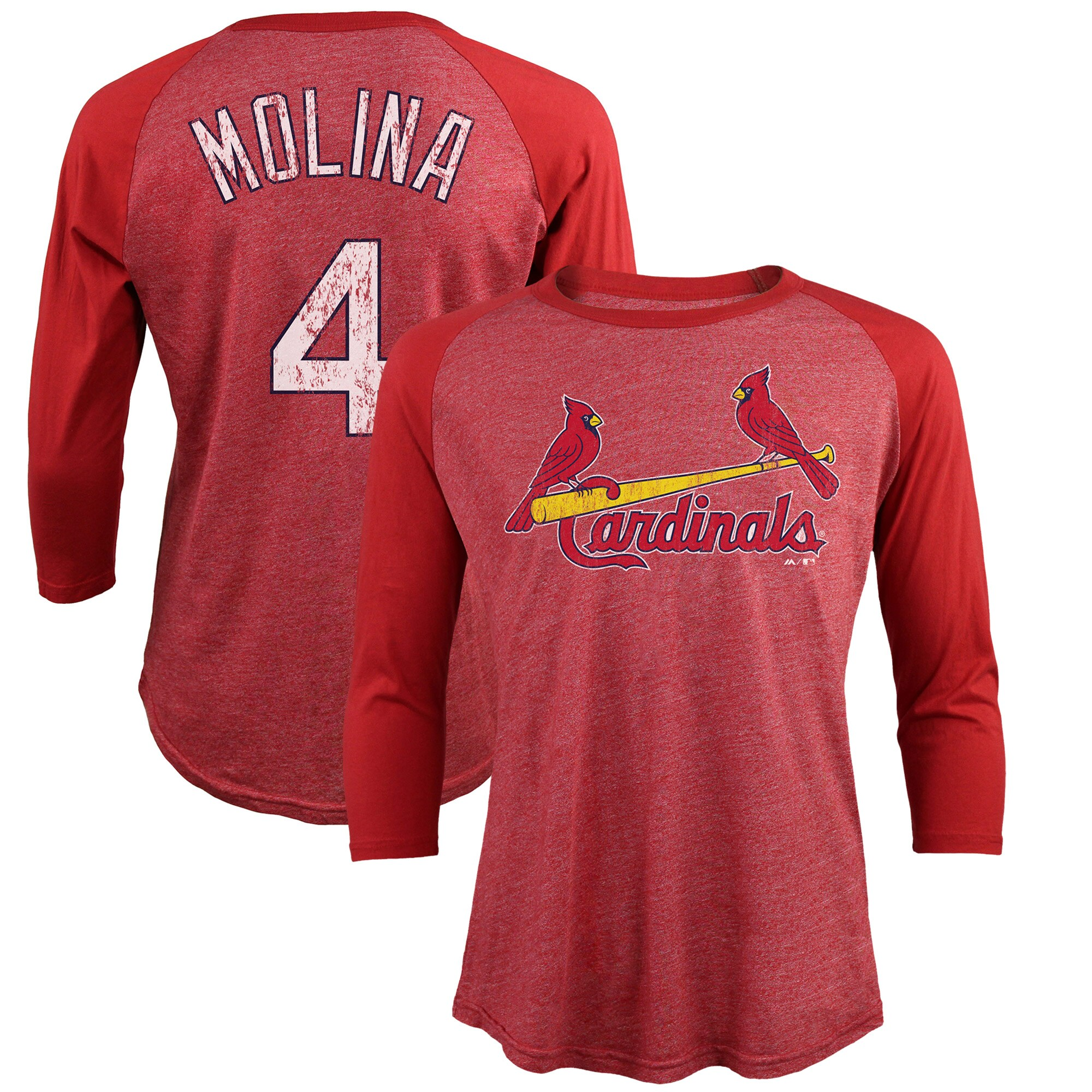 Yadier Molina St. Louis Cardinals Majestic Threads Tri-Blend 3/4-Sleeve Raglan Name & Number T-Shirt - Red