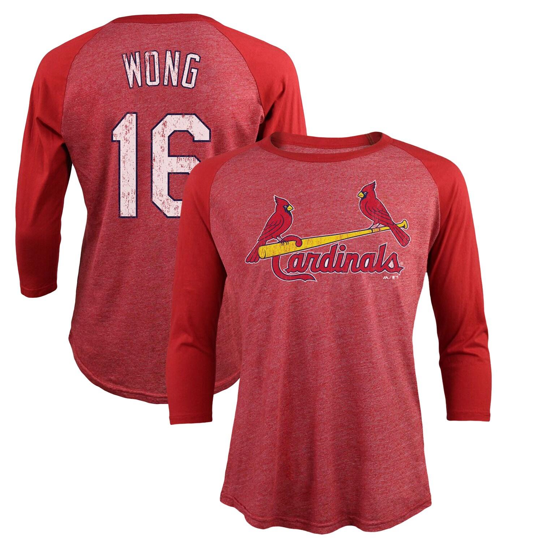 Kolten Wong St. Louis Cardinals Majestic Threads Tri-Blend 3/4-Sleeve Raglan Name & Number T-Shirt - Red