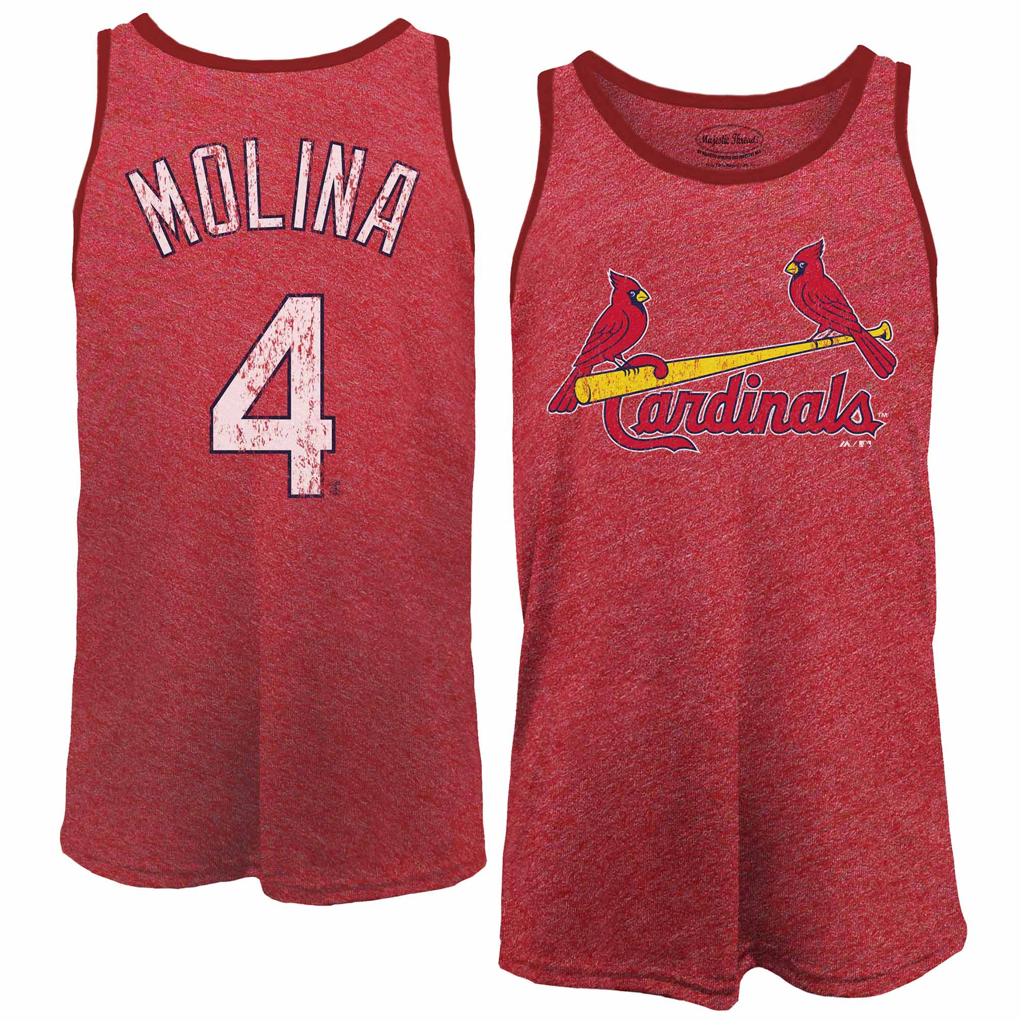 Yadier Molina St. Louis Cardinals Majestic Threads Name & Number Tri-Blend Tank Top - Red