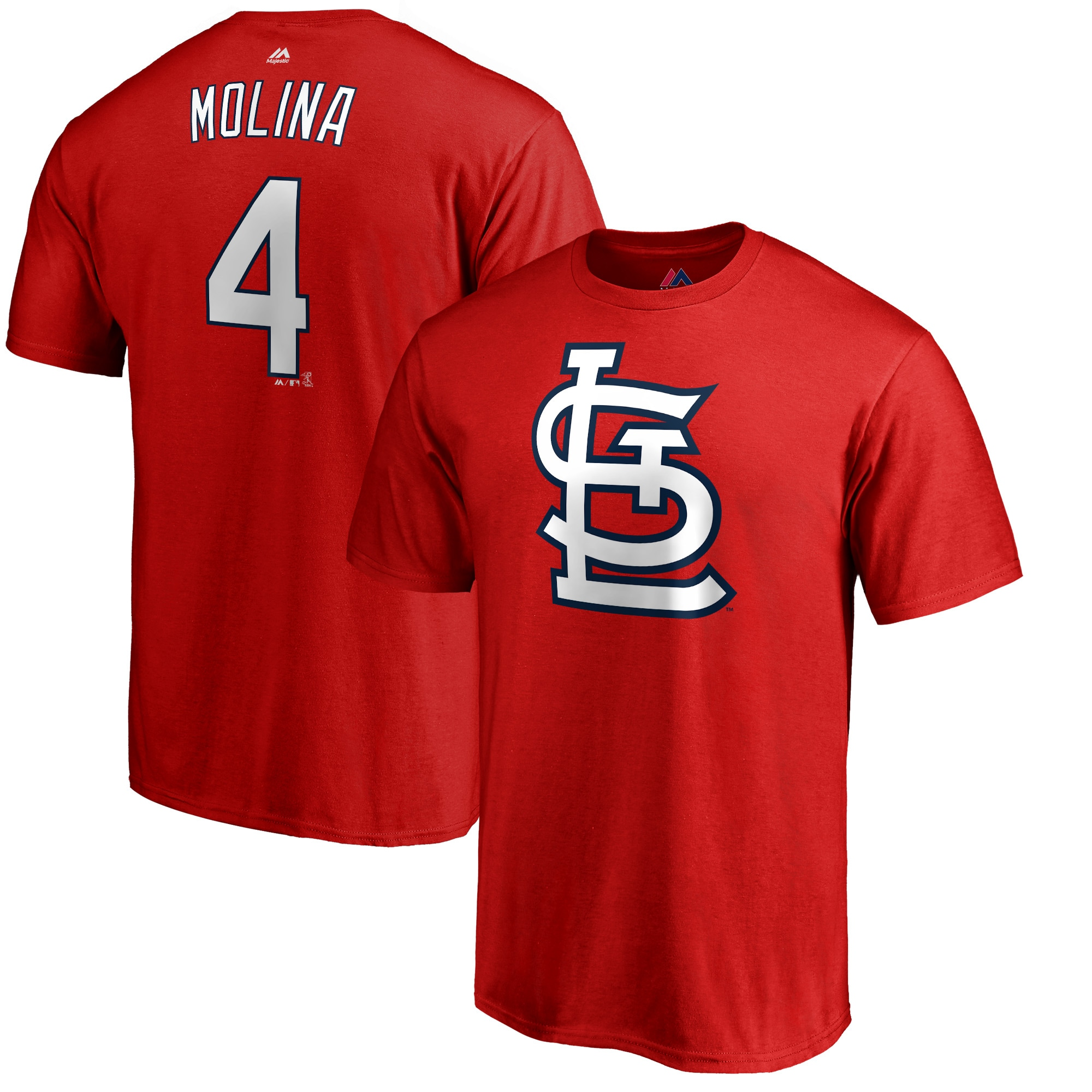 Yadier Molina St. Louis Cardinals Majestic Double Play Cap Logo Name & Number T-Shirt - Red