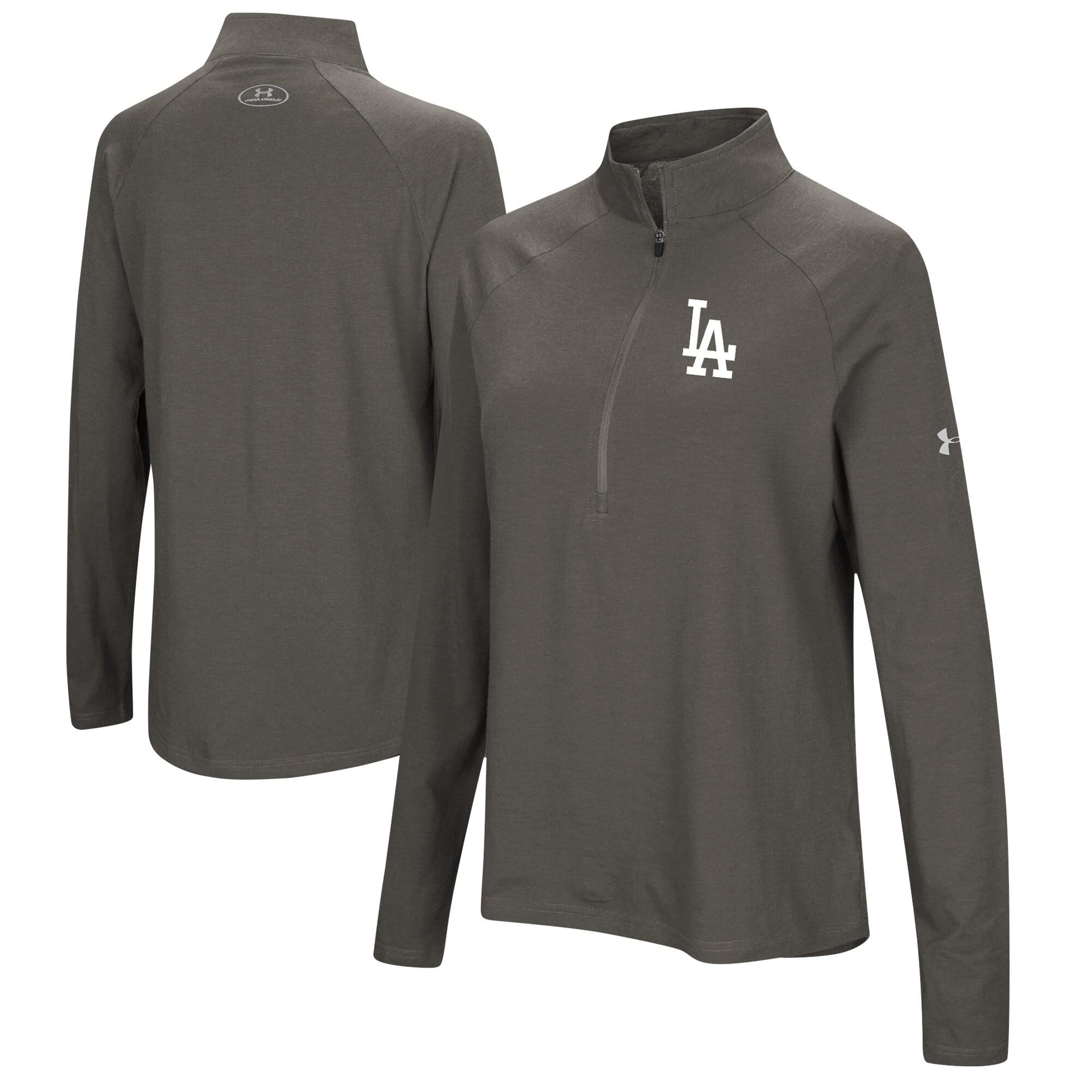 Los Angeles Dodgers Under Armour Women's Passion Performance Tri-Blend Raglan Half-Zip Pullover Jacket - Heathered Gray