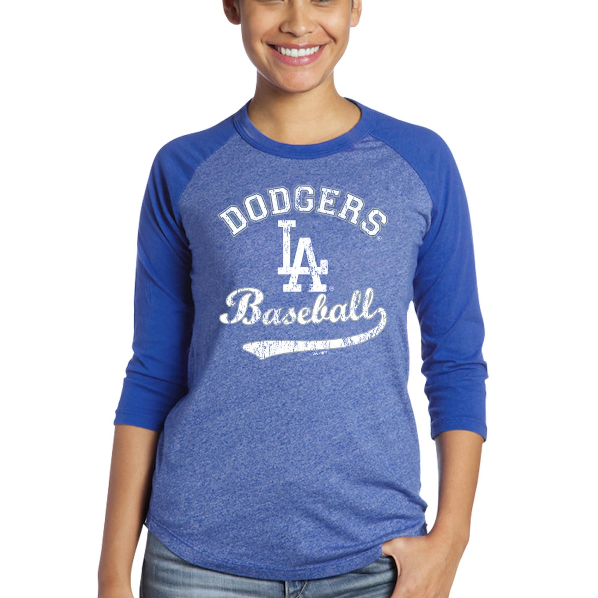 Los Angeles Dodgers Majestic Threads Women's Team Baseball Three-Quarter Raglan Sleeve Tri-Blend T-Shirt - Royal