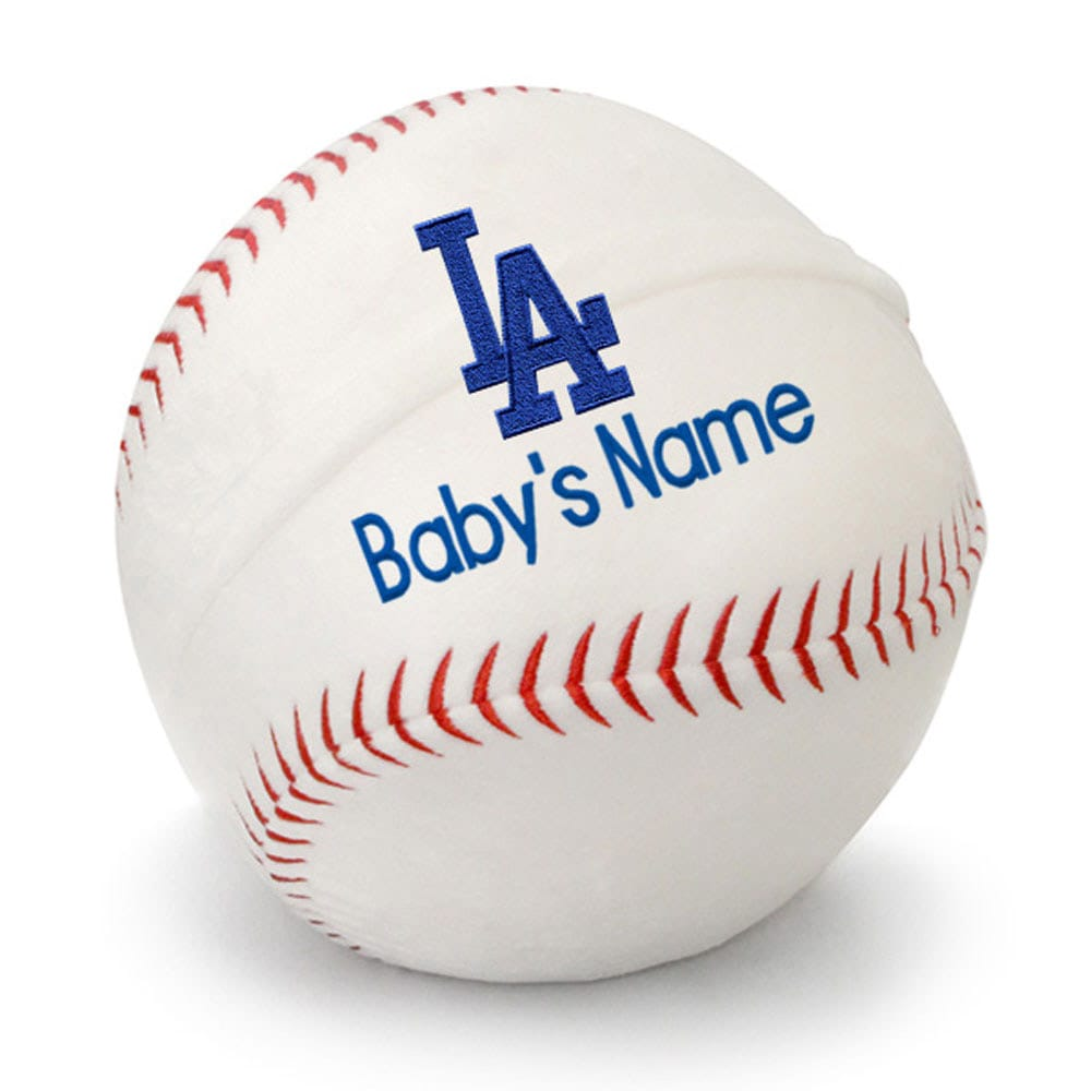 Los Angeles Dodgers Personalized Plush Baby Baseball - White