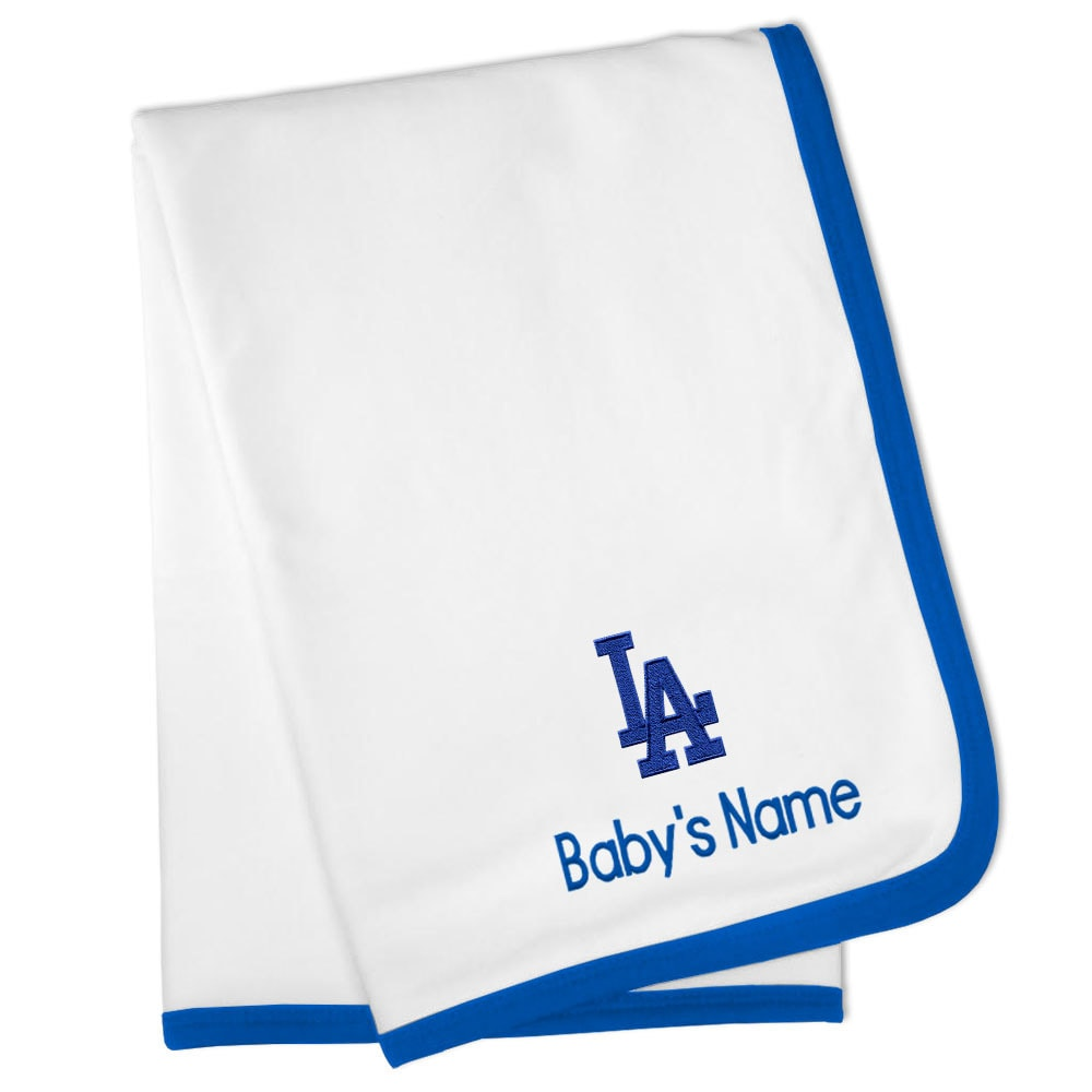 Los Angeles Dodgers Personalized Baby Blanket - White