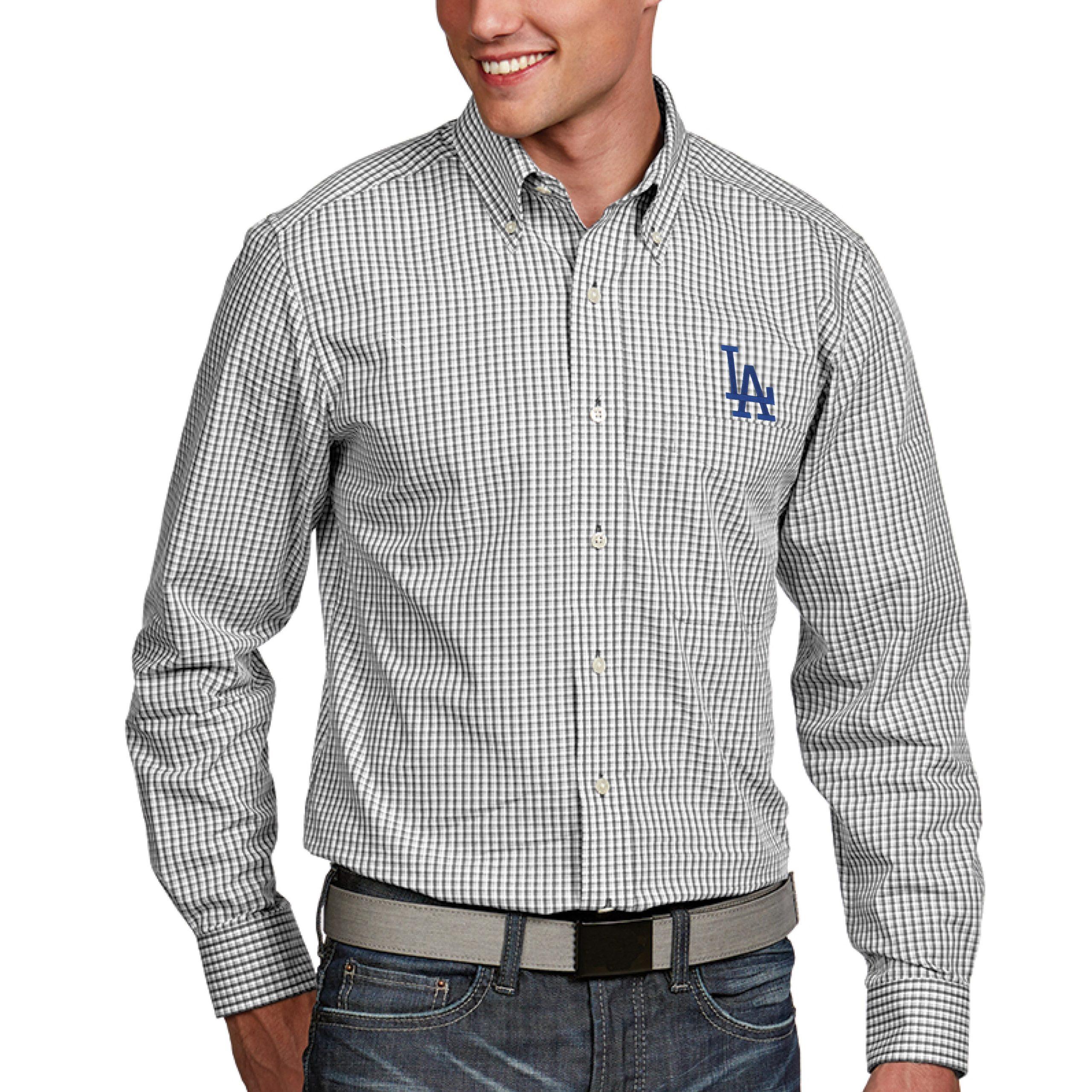Los Angeles Dodgers Antigua Associate Button-Down Dress Long Sleeve Shirt - White