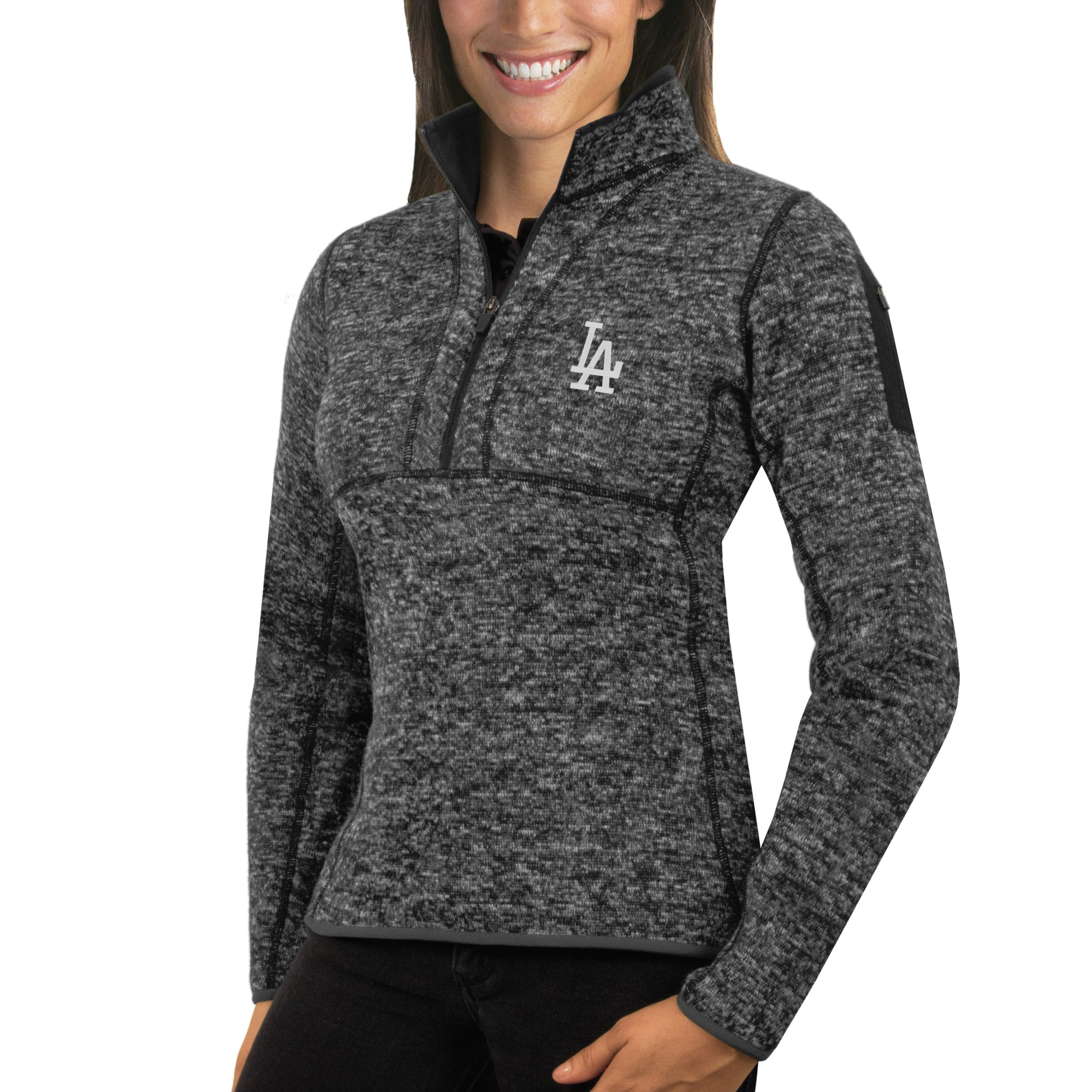 Los Angeles Dodgers Antigua Women's Fortune Half-Zip Pullover Sweater - Heathered Charcoal