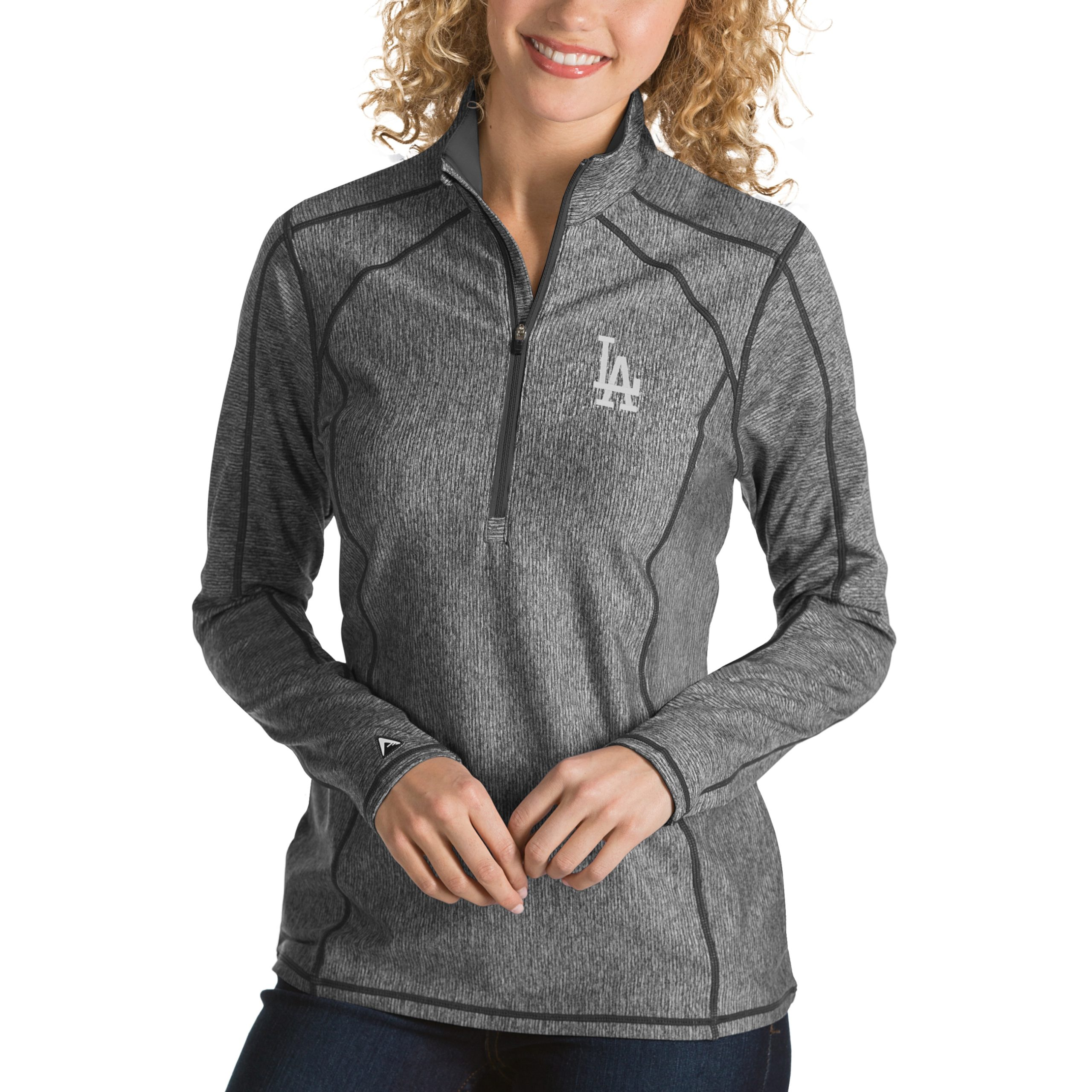 Los Angeles Dodgers Antigua Women's Tempo Desert Dry 1/4-Zip Pullover Jacket - Heathered Charcoal