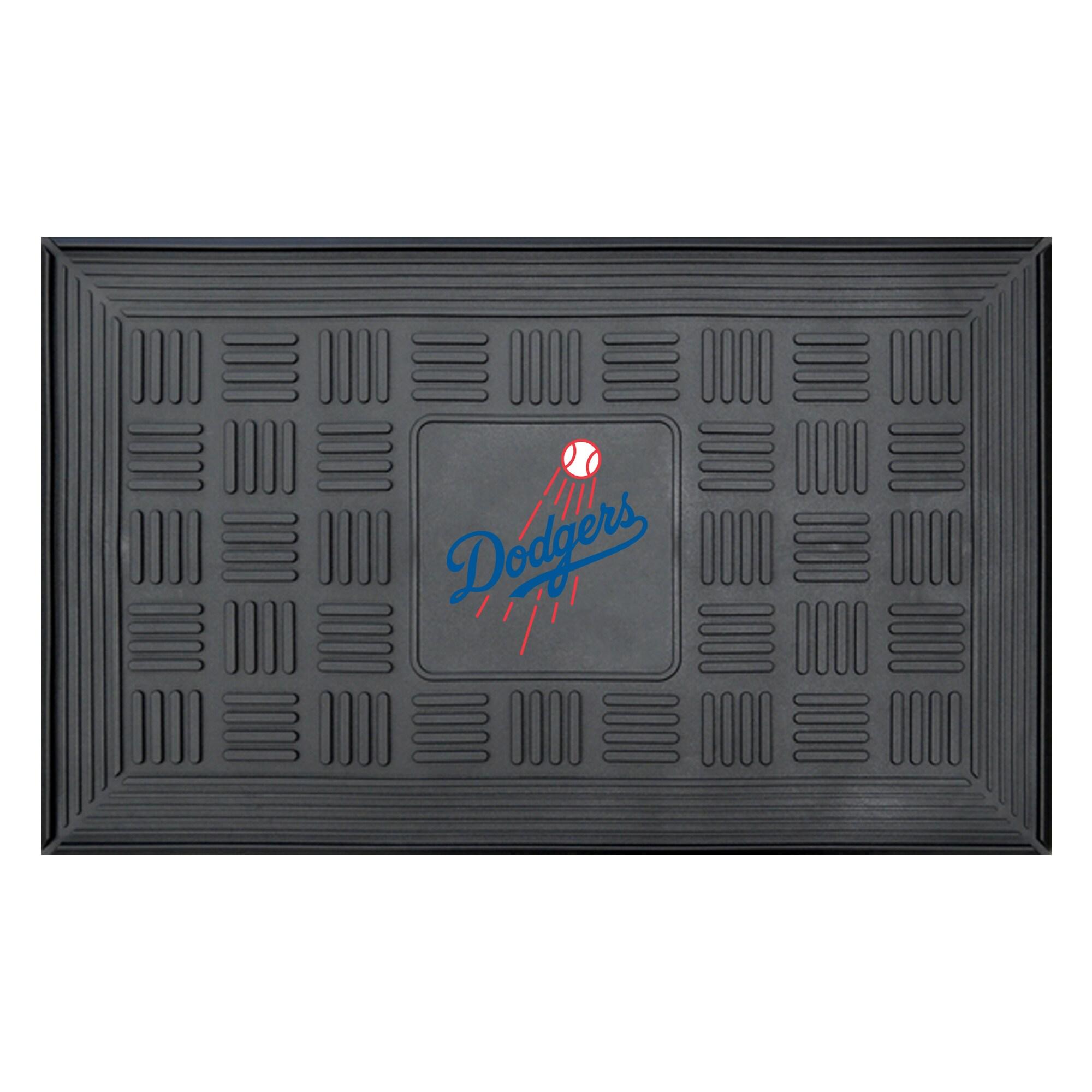 """Los Angeles Dodgers 19"""" x 30"""" Vinyl Medallion Door Mat - Black"""