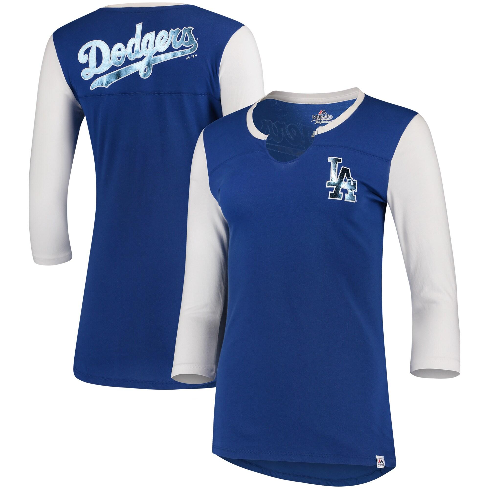 Los Angeles Dodgers Majestic Women's Above Average Three-Quarter Sleeve V-Notch T-Shirt - Royal/White