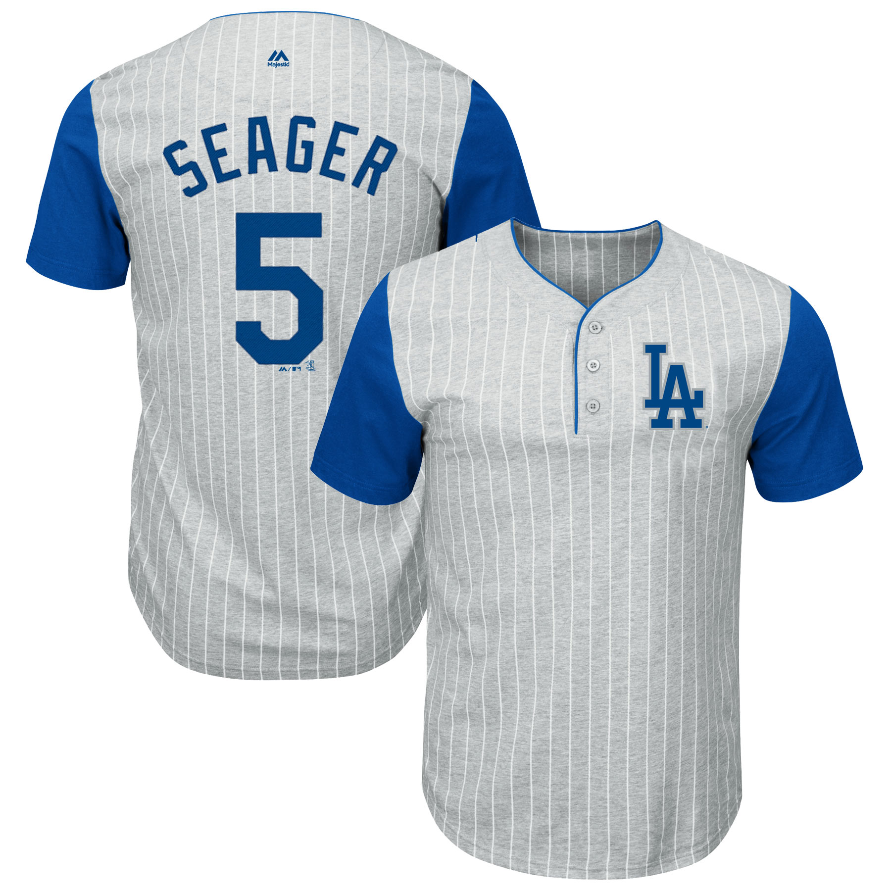 Corey Seager Los Angeles Dodgers Majestic Big & Tall Pinstripe Player T-Shirt - Gray/Royal