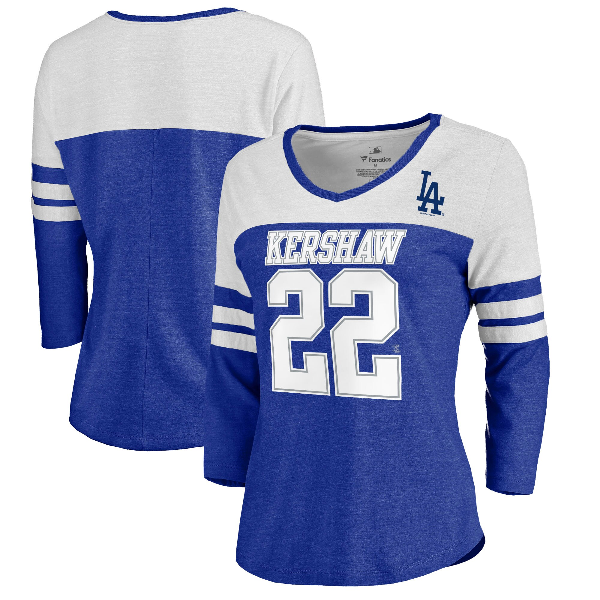 Clayton Kershaw Los Angeles Dodgers Fanatics Branded Women's Ace Name & Number 3/4-Sleeve V-Neck T-Shirt - Royal/White