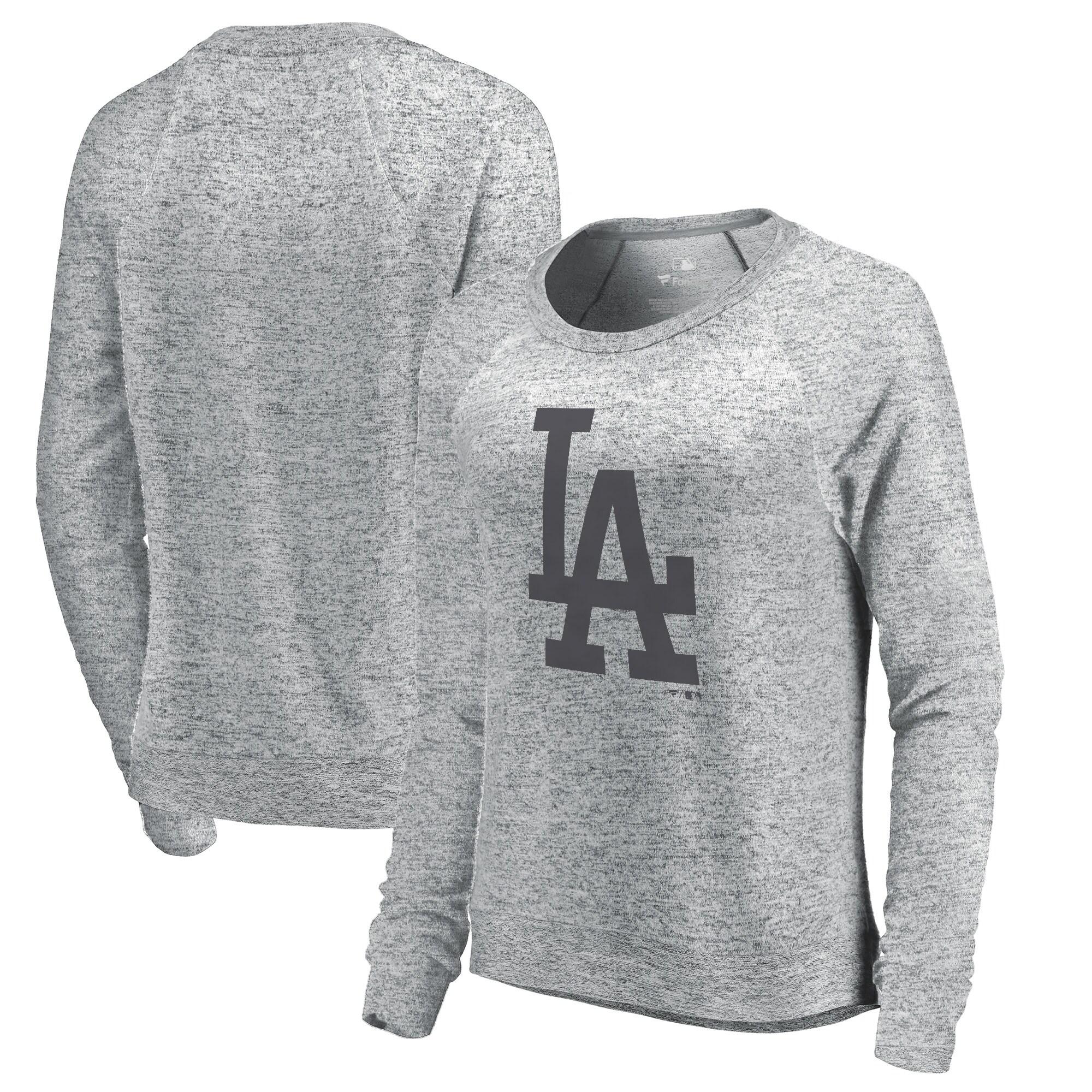 Los Angeles Dodgers Let Loose by RNL Women's Cozy Collection Plush Raglan Tri-Blend Sweatshirt - Ash