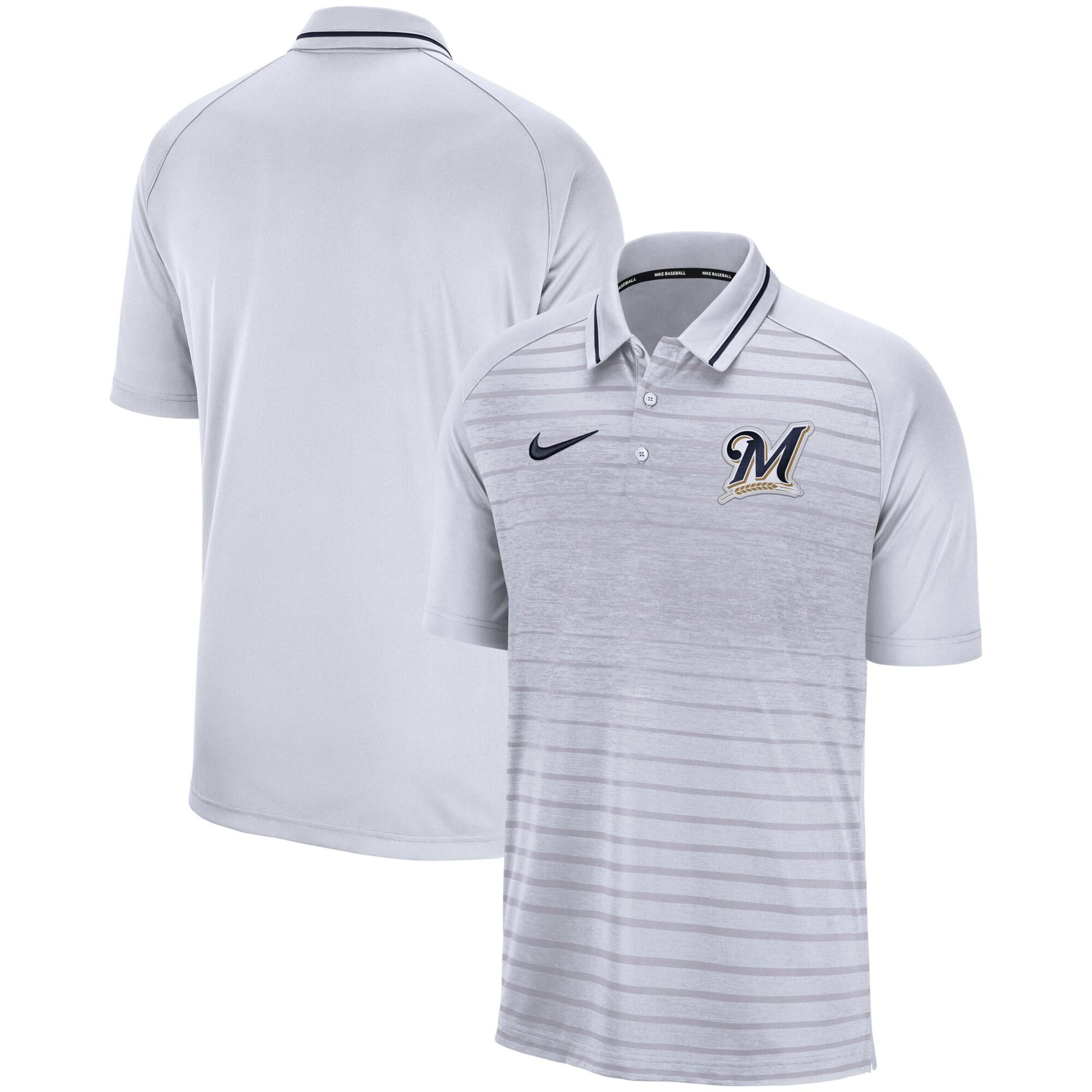 Milwaukee Brewers Nike Game Stripe Raglan Sleeve Polo - Gray