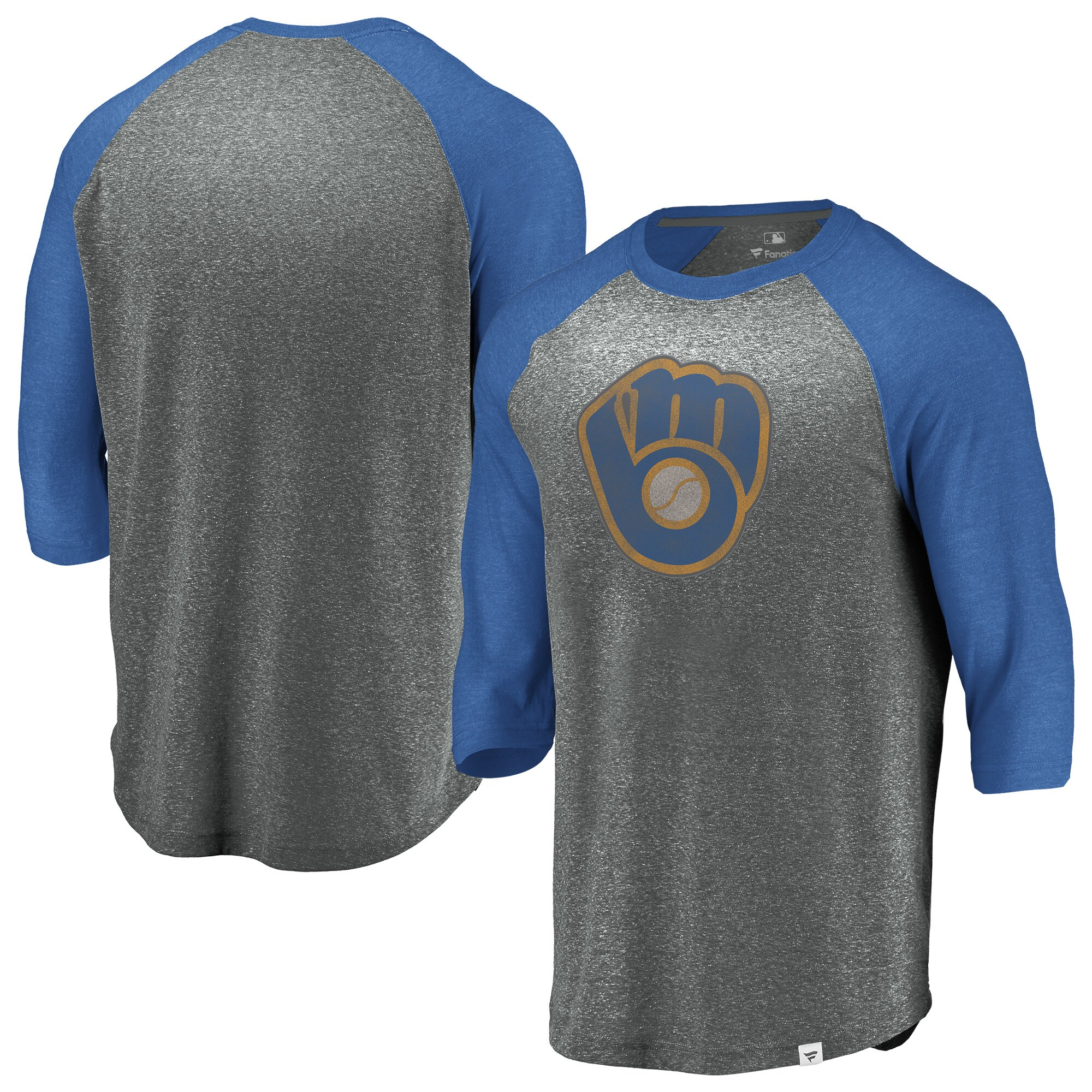 Milwaukee Brewers Fanatics Branded Cooperstown Collection Massive Devotees Tri-Blend Raglan 3/4-Sleeve T-Shirt - Heathered Gray/Royal