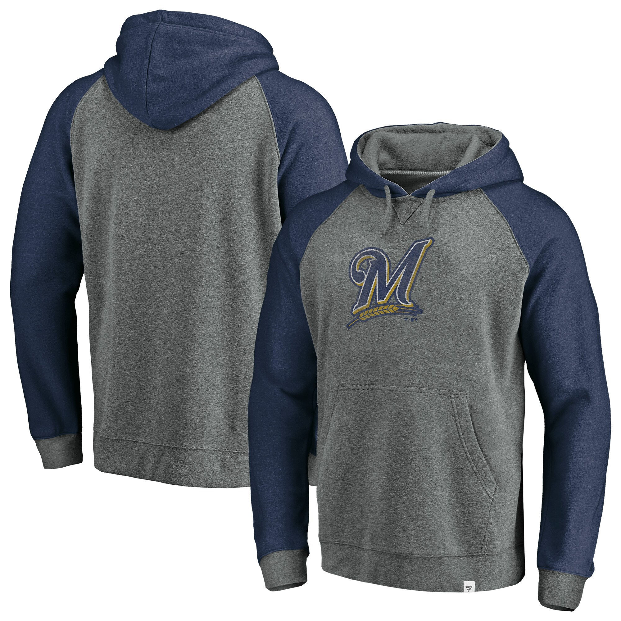 Milwaukee Brewers Fanatics Branded Team Logo Tri-Blend Pullover Hoodie - Gray/Navy