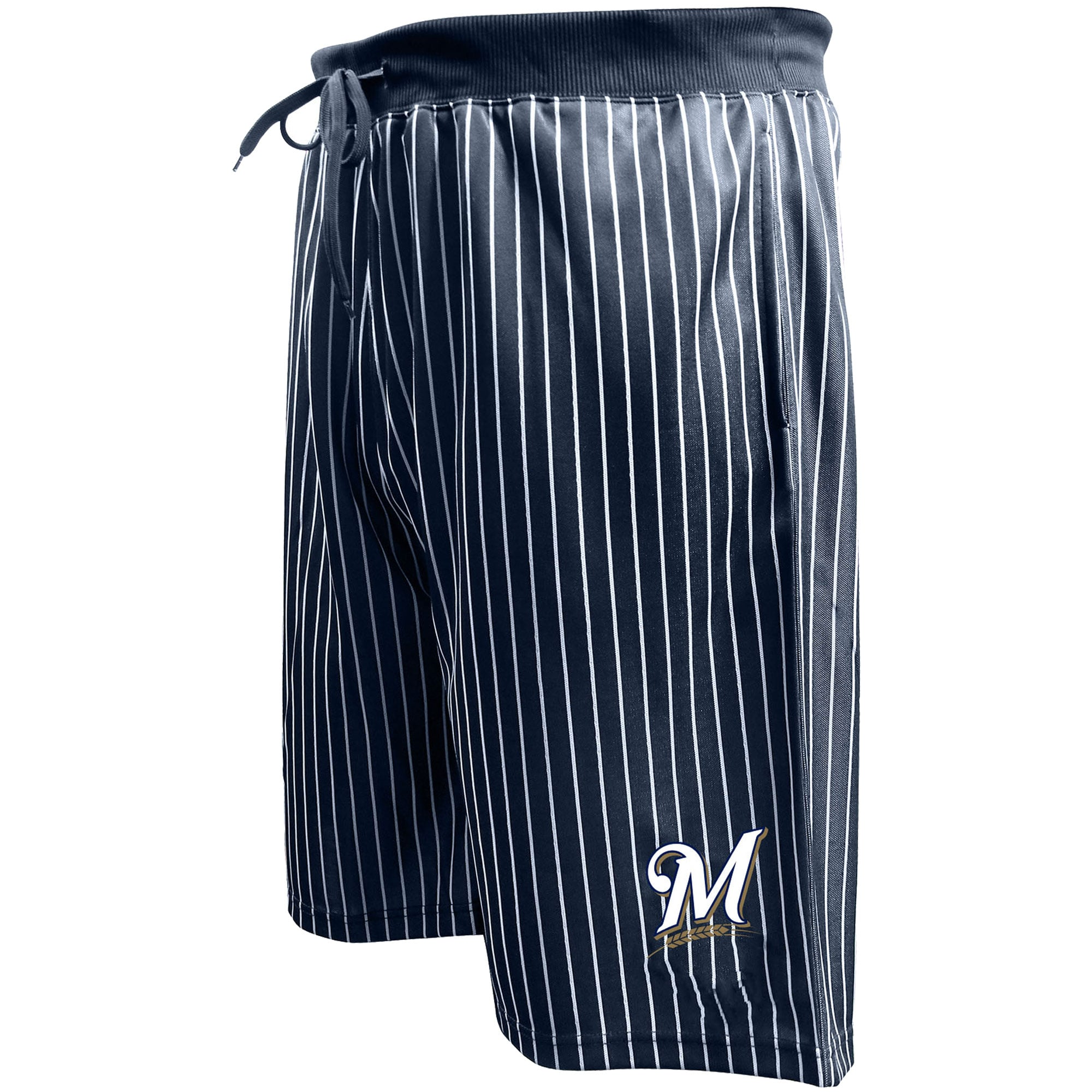 Milwaukee Brewers Majestic Big & Tall Pin Stripe Shorts - Navy
