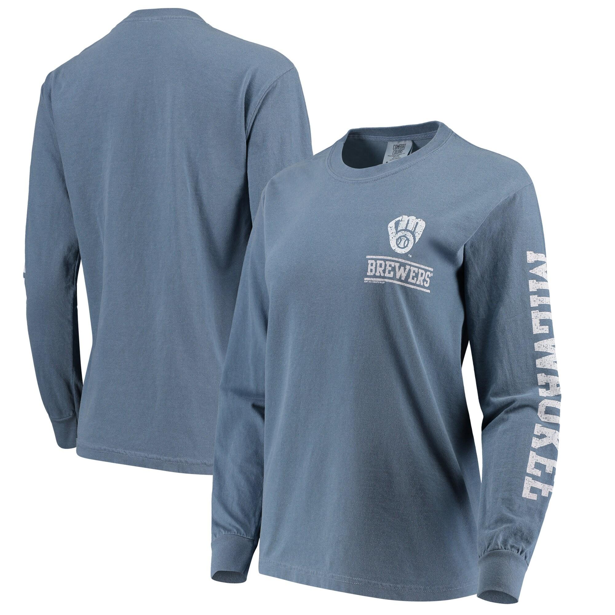 Milwaukee Brewers Soft as a Grape Women's Pigment Dye Comfort Color Long Sleeve T-Shirt - Navy