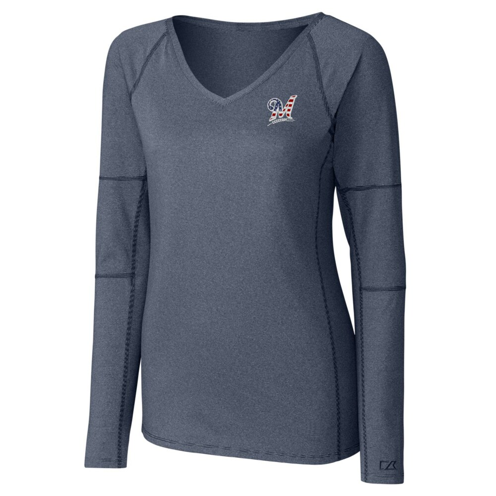 Milwaukee Brewers Cutter & Buck Women's Victory Long Sleeve V-Neck Shirt - Navy