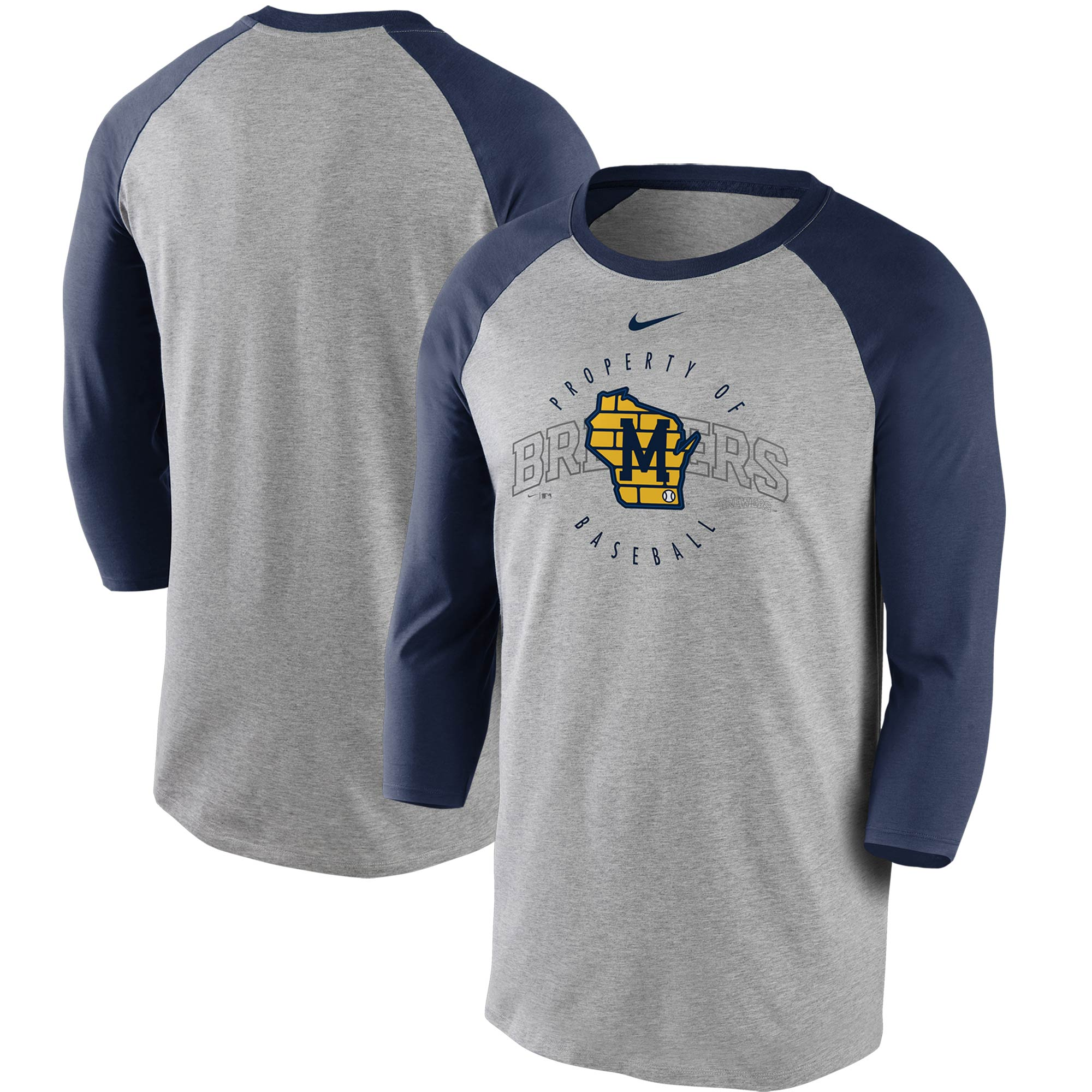 Milwaukee Brewers Nike Property Of Tri-Blend Raglan 3/4 Sleeve T-Shirt - Gray/Navy