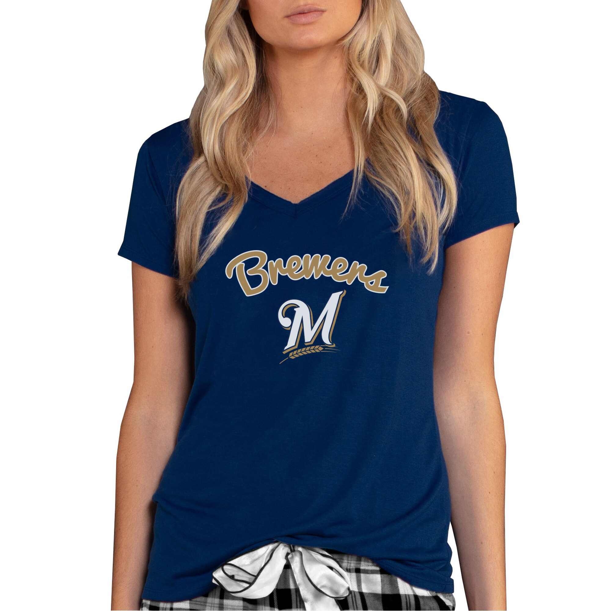 Milwaukee Brewers Concepts Sport Women's Marathon Knit V-Neck T-Shirt - Navy