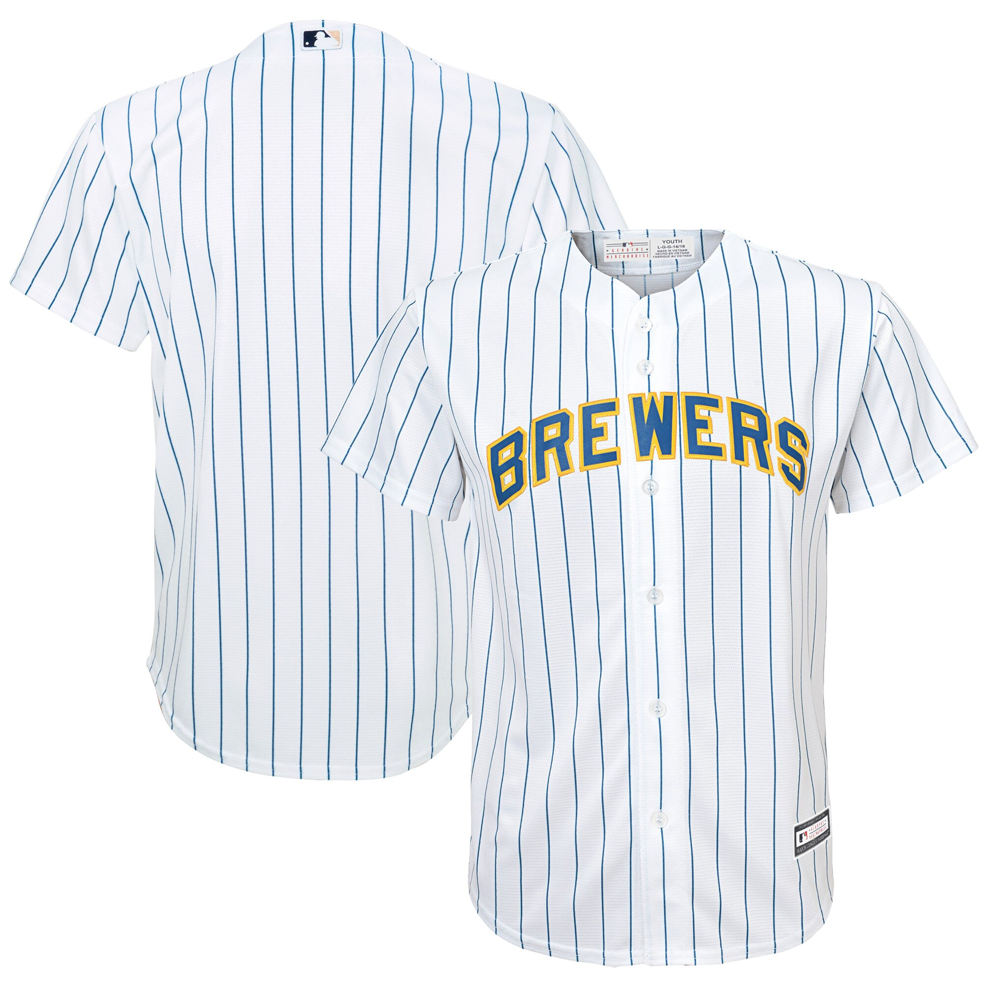 Milwaukee Brewers Youth Replica Team Jersey - White/Royal
