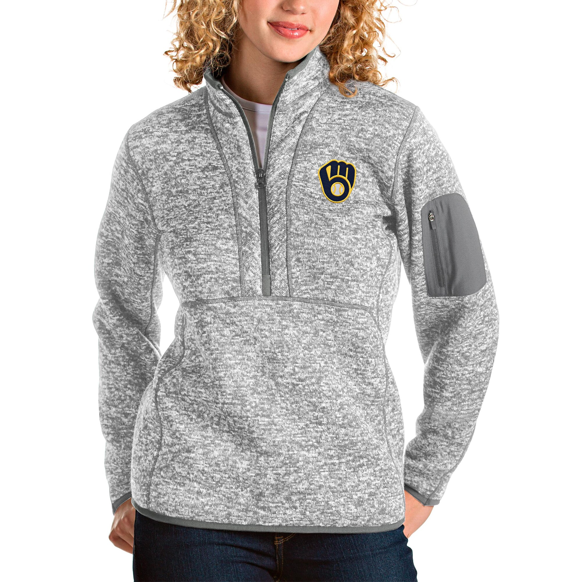 Milwaukee Brewers Antigua Women's Fortune Half-Zip Pullover Jacket - Heather Gray