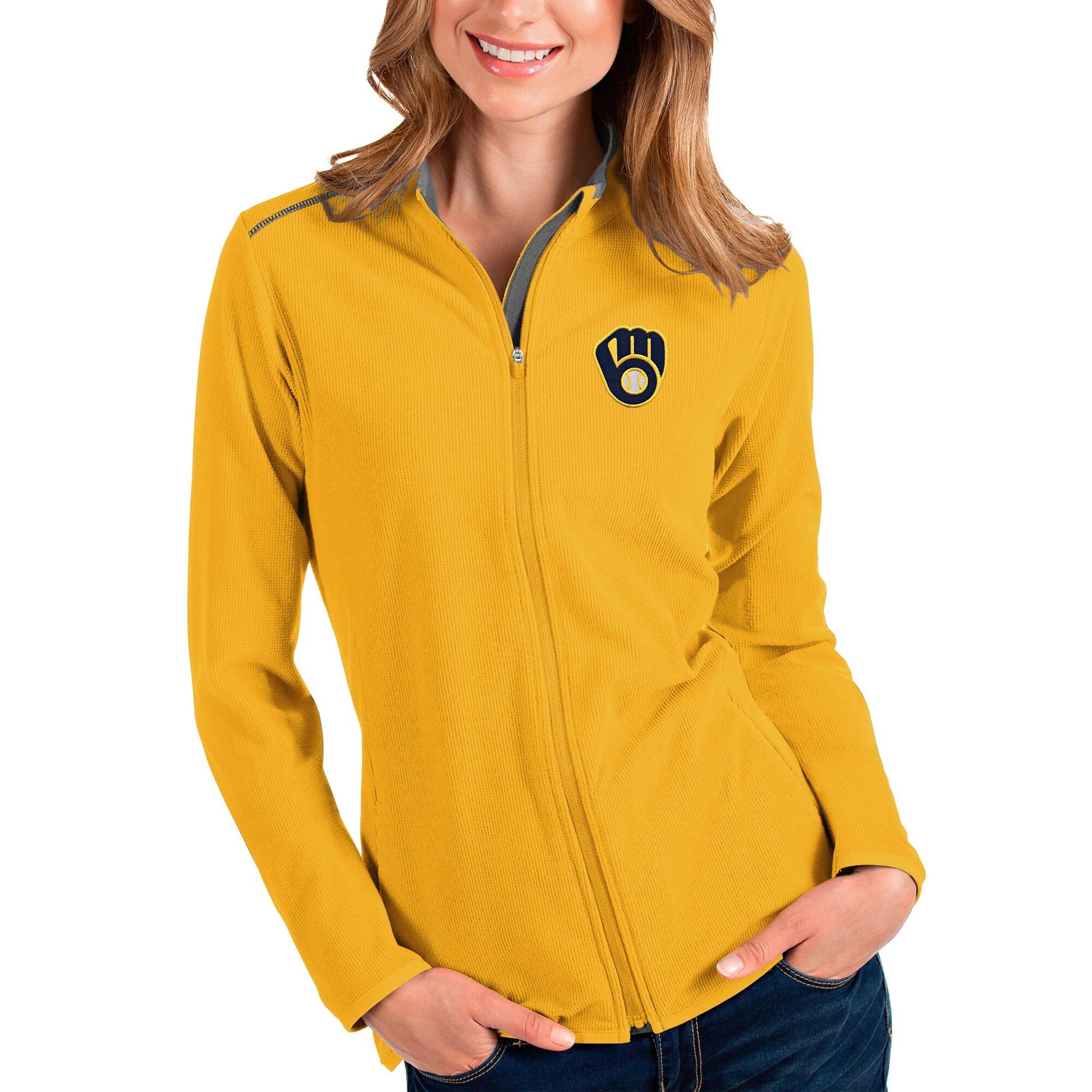 Milwaukee Brewers Antigua Women's Glacier Full-Zip Jacket - Gold/Charcoal