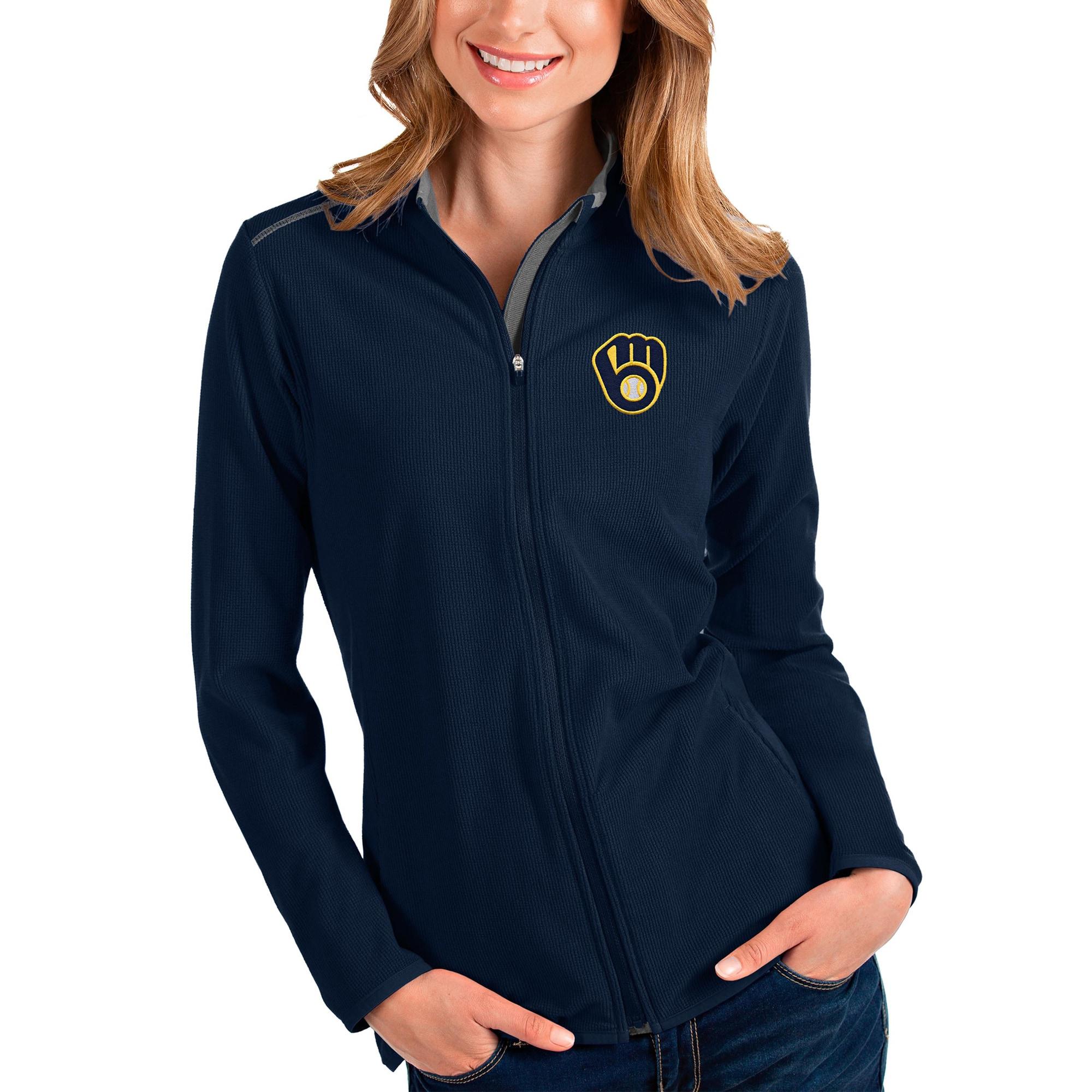 Milwaukee Brewers Antigua Women's Glacier Full-Zip Jacket - Navy/Charcoal