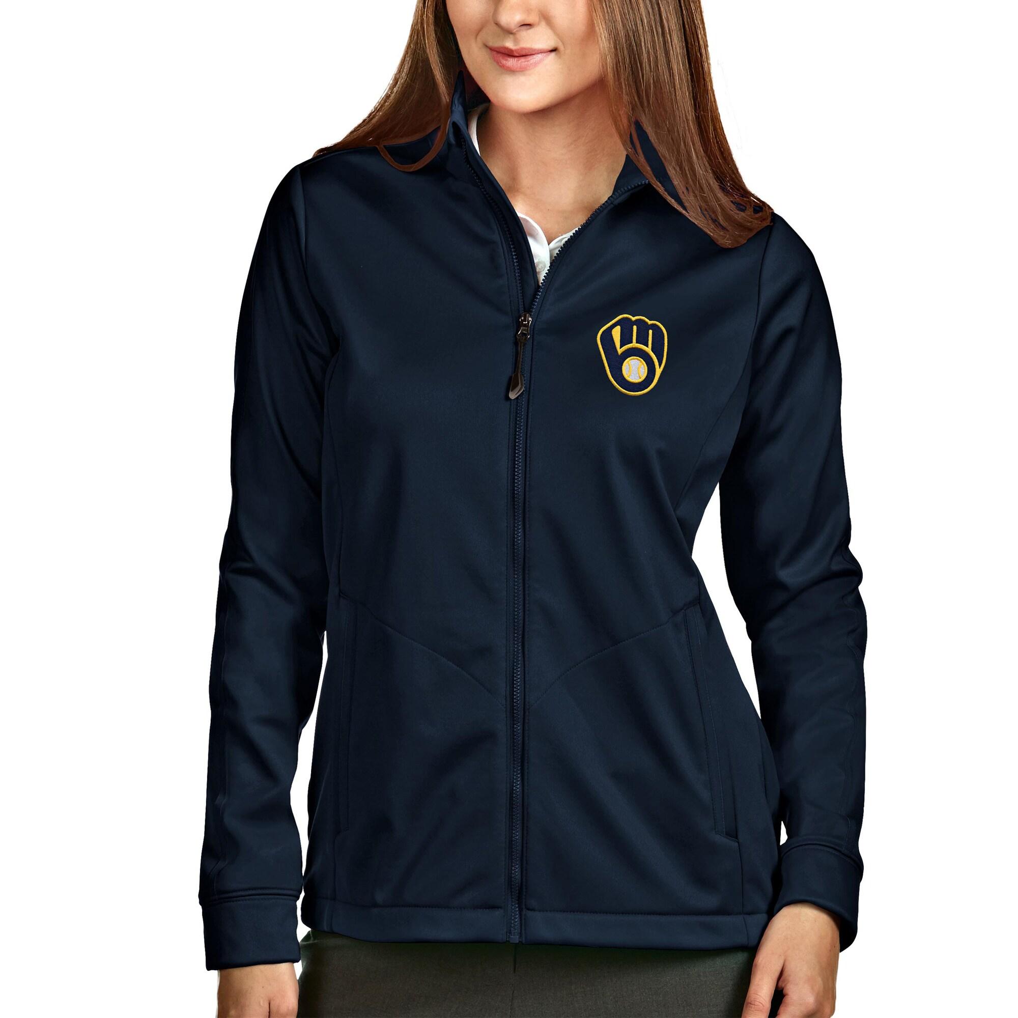 Milwaukee Brewers Antigua Women's Full-Zip Golf Jacket - Navy