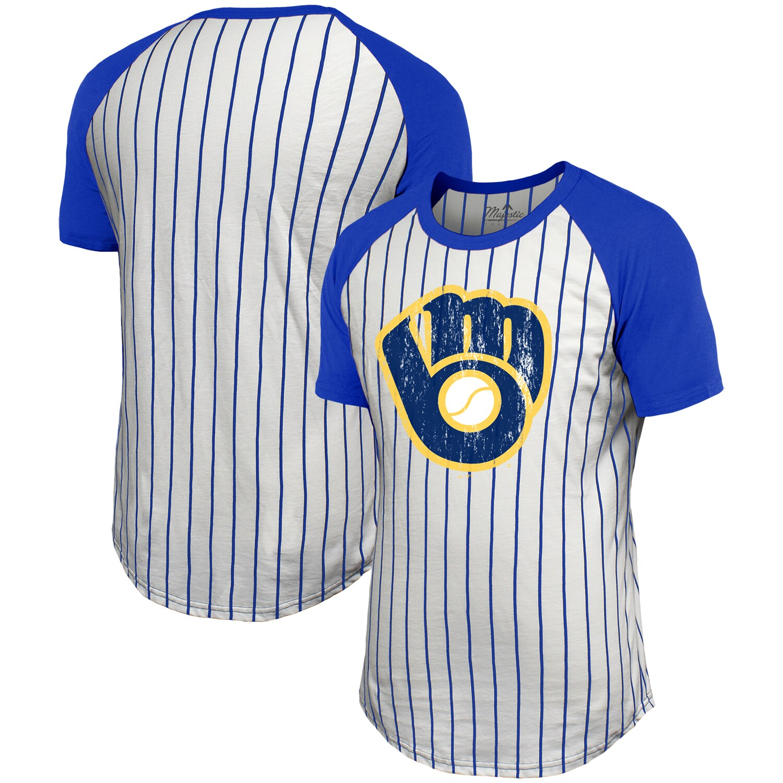 Milwaukee Brewers Majestic Threads Pinstripe Raglan T-Shirt - White/Royal