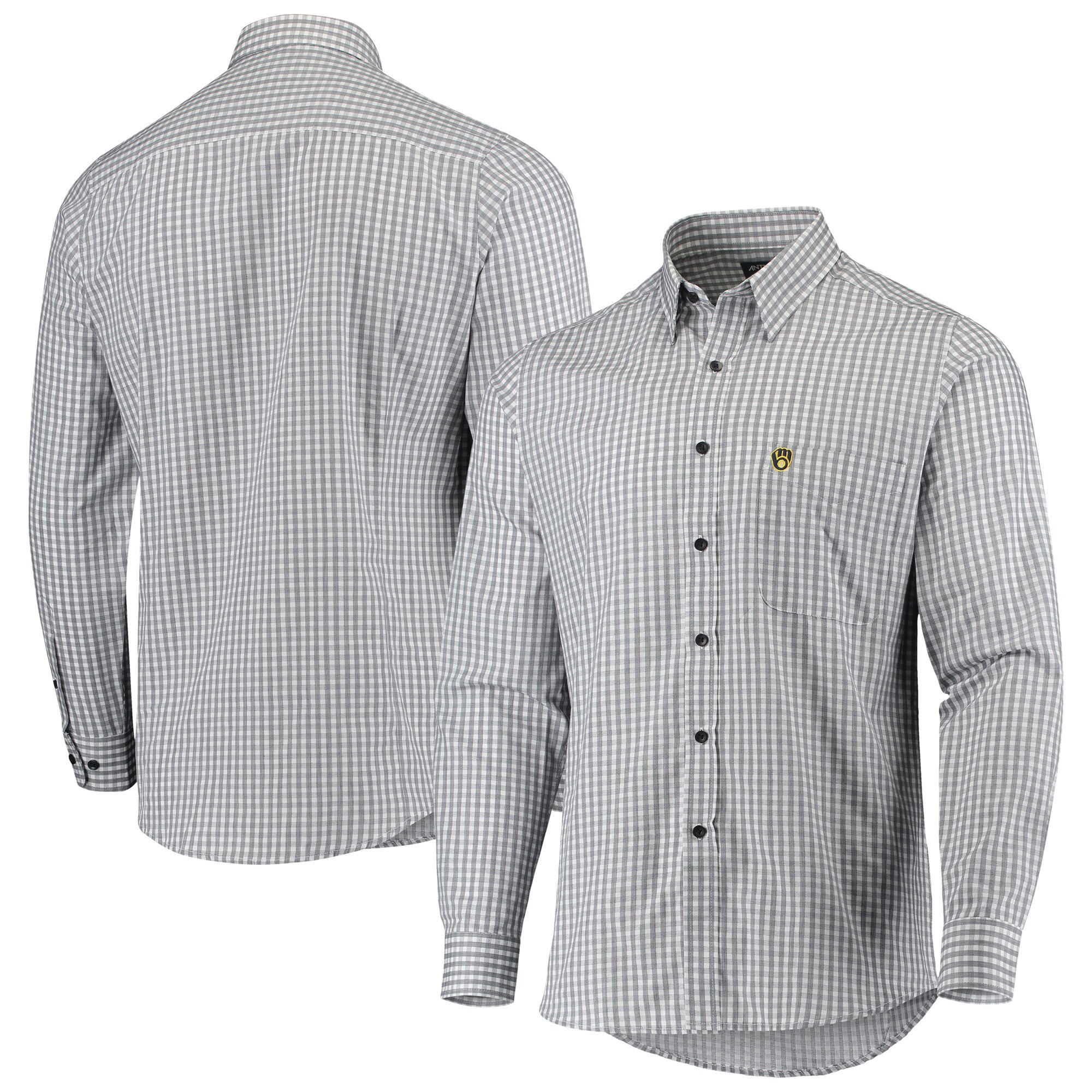 Milwaukee Brewers Antigua Structure Button-Up Long Sleeve Shirt - Navy/White