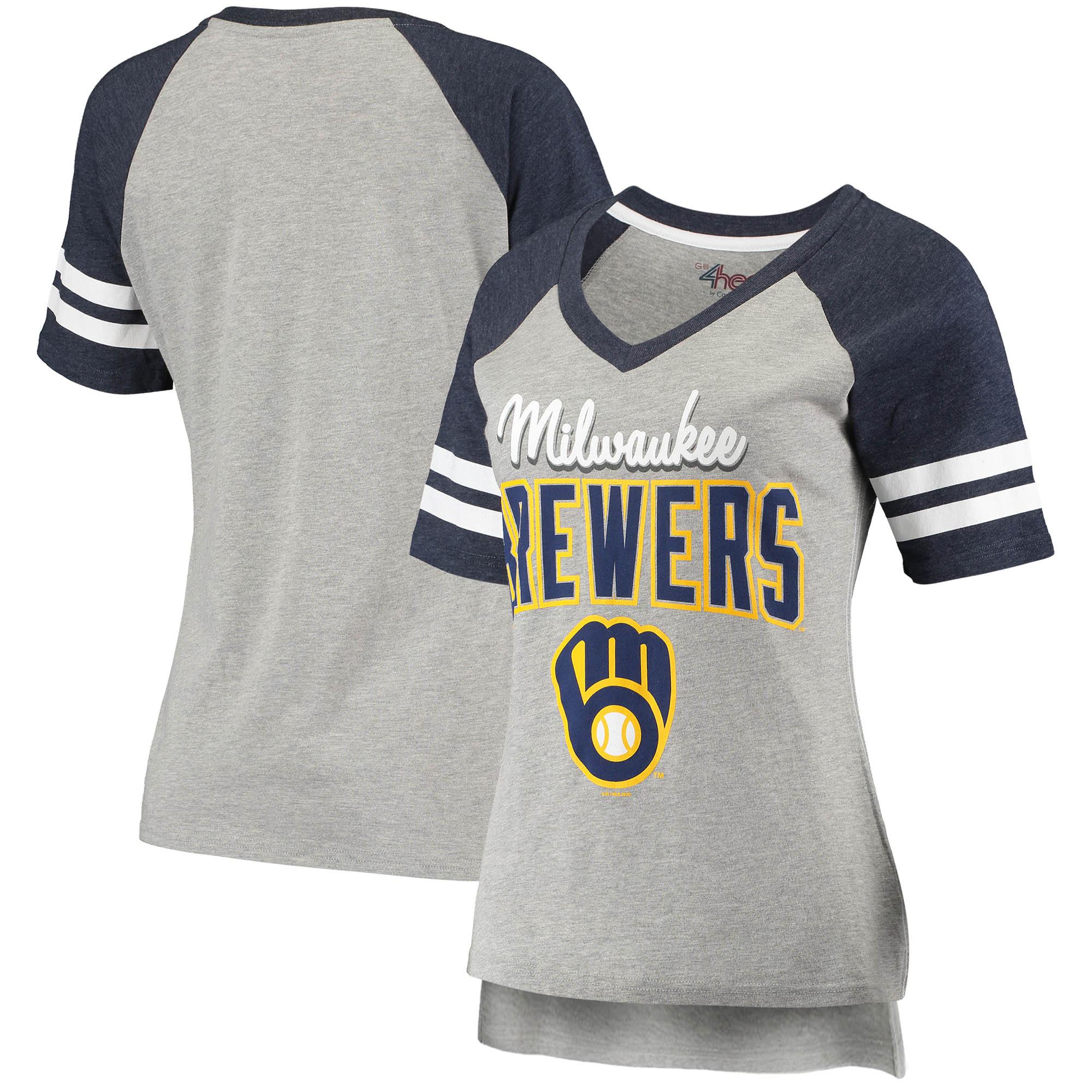 Milwaukee Brewers G-III 4Her by Carl Banks Women's Goal Line Raglan V-Neck T-Shirt - Heathered Gray/Navy