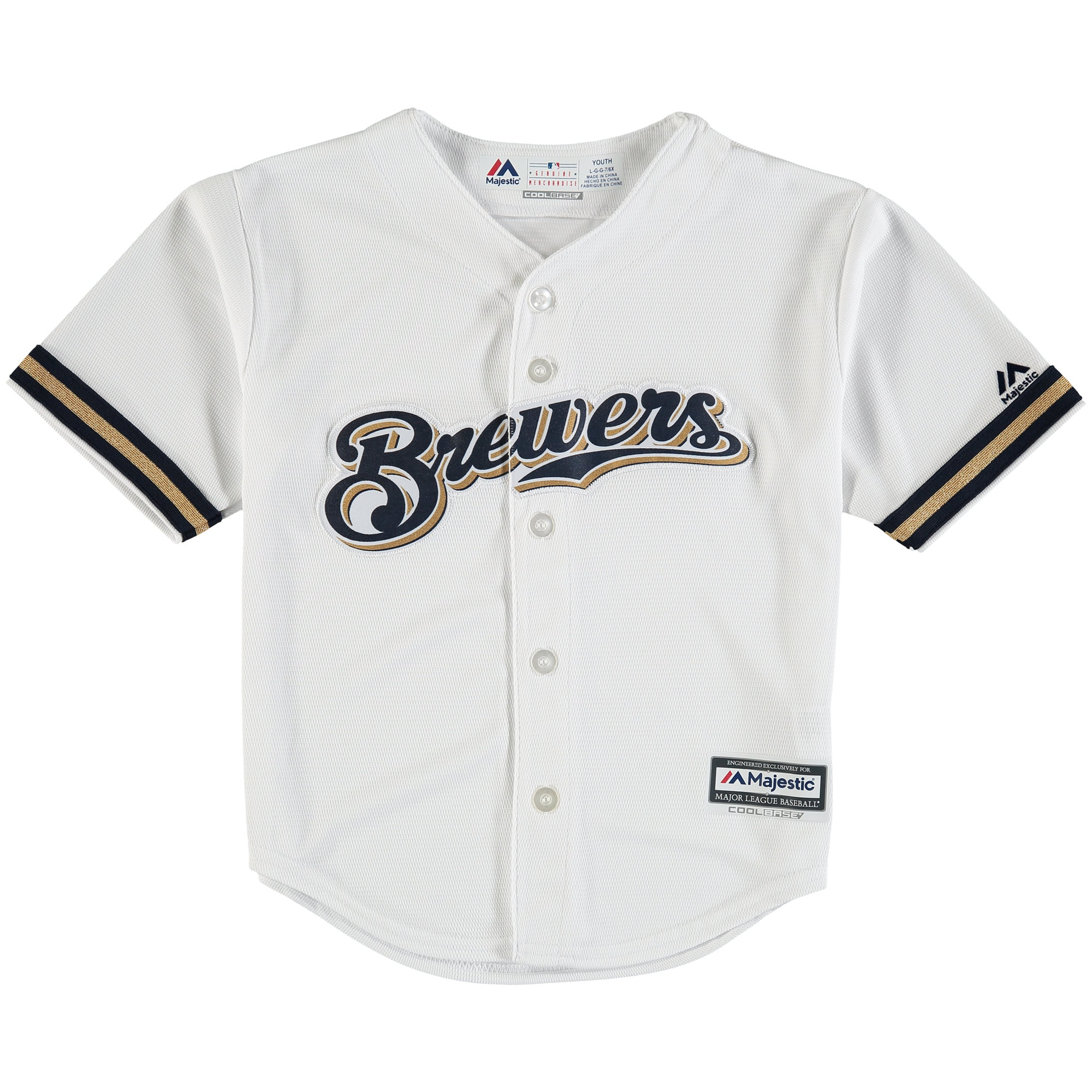 Milwaukee Brewers Majestic Preschool Official Cool Base Team Jersey - White