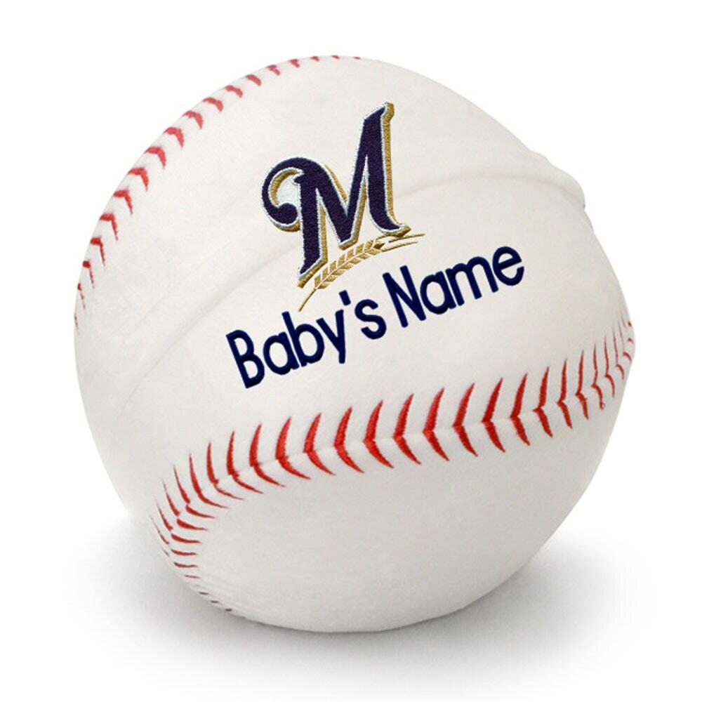 Milwaukee Brewers Personalized Plush Baby Baseball - White